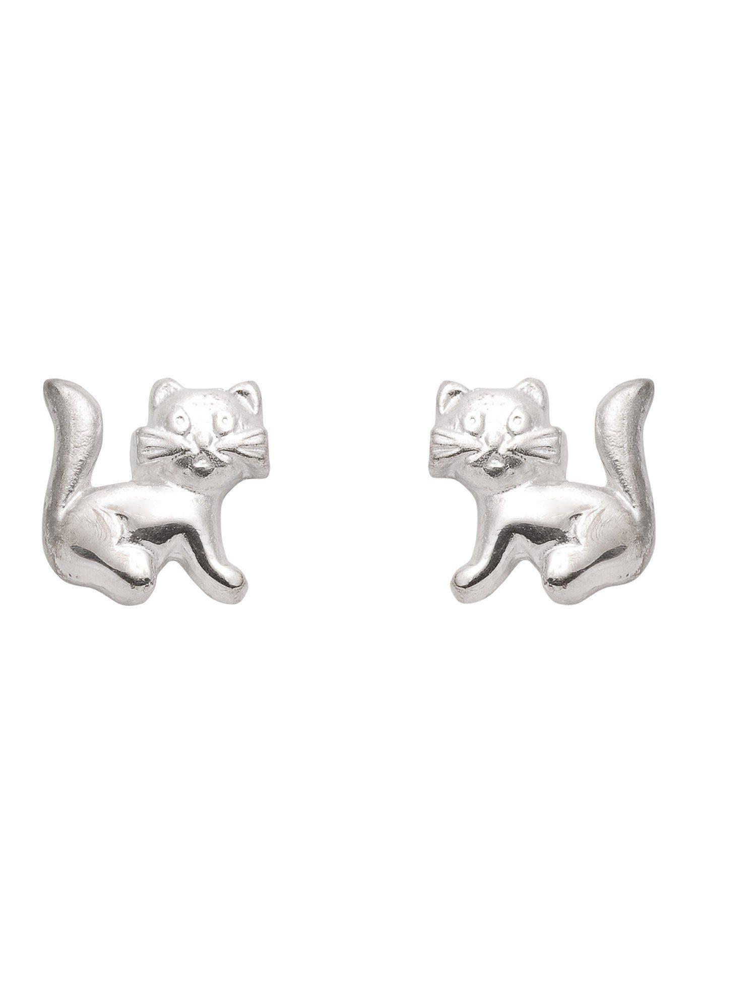 Adelia´s Paar Ohrstecker »Silber Ohrringe« Katze 925 Sterling Silber