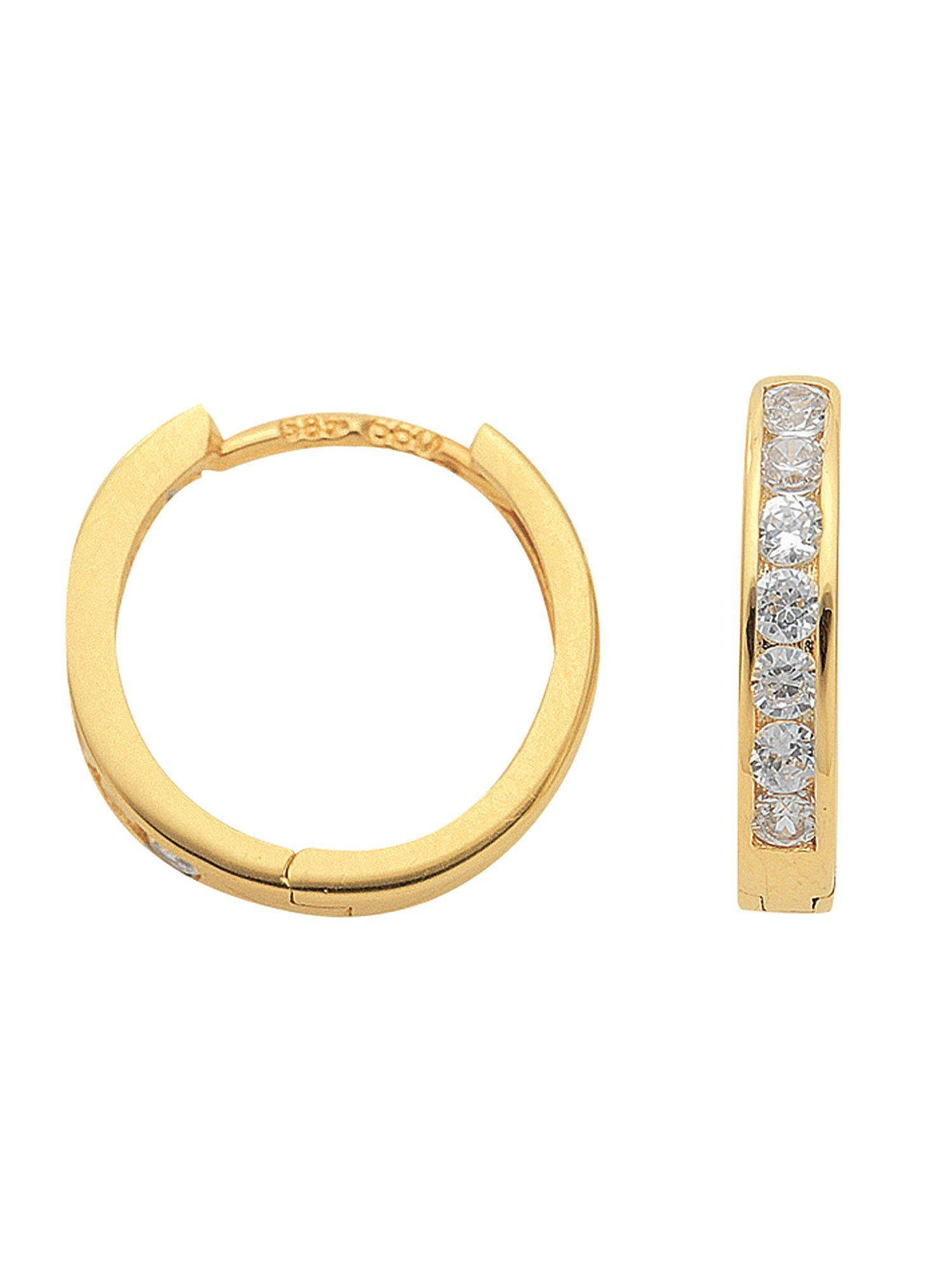 Adelia´s Paar Creolen »Gold Ohrringe« 8 k 333 Gelbgold mit Zirkonia Ø 1.36 cm