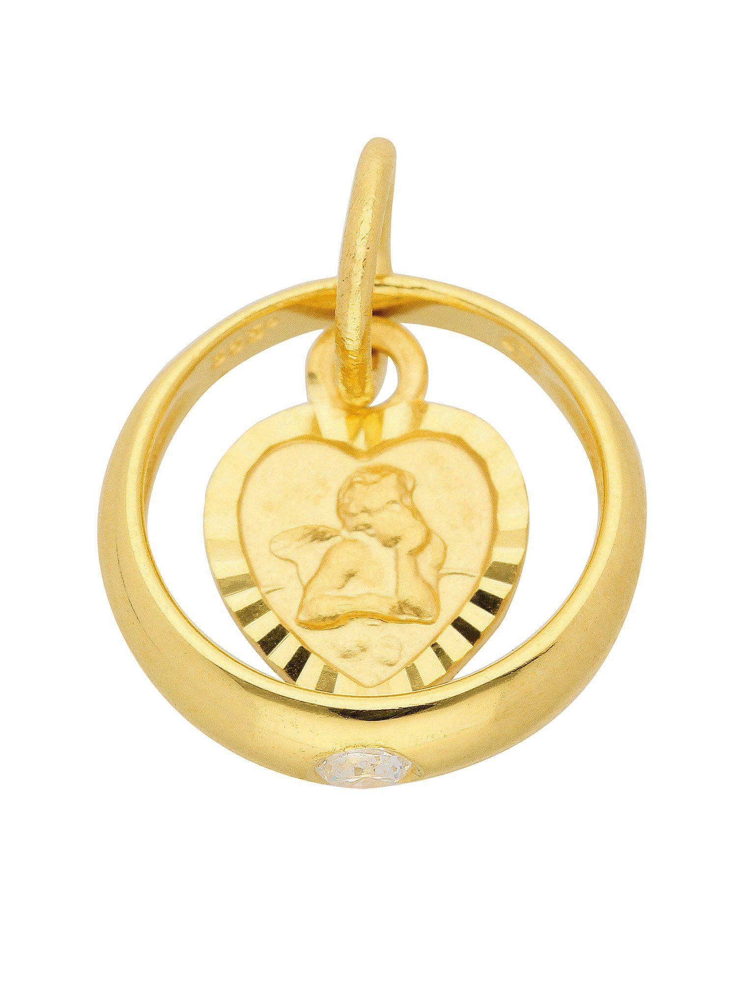 Adelia´s Kettenanhänger »Gold 8 k (333) Motiv - Anhänger« Taufring 8 k 333 Gelbgold mit Zirkonia Ø 1.06 cm