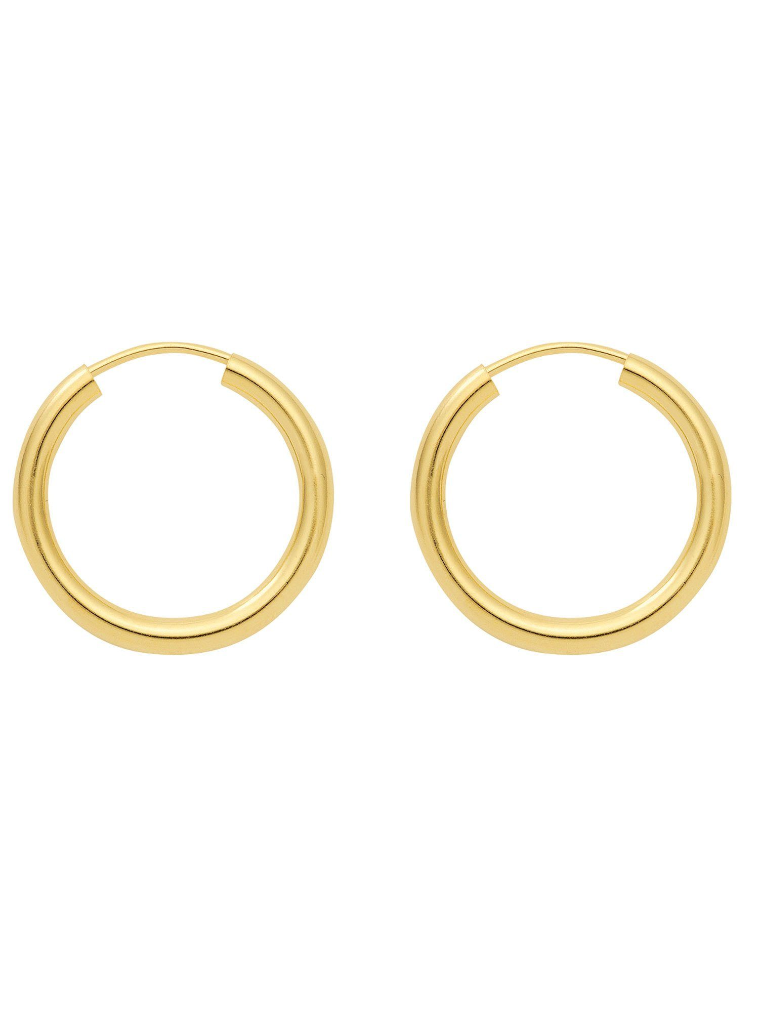 Adelia´s Paar Creolen »Silber Ohrringe« 925 Sterling Silber vergoldet Ø 3 cm