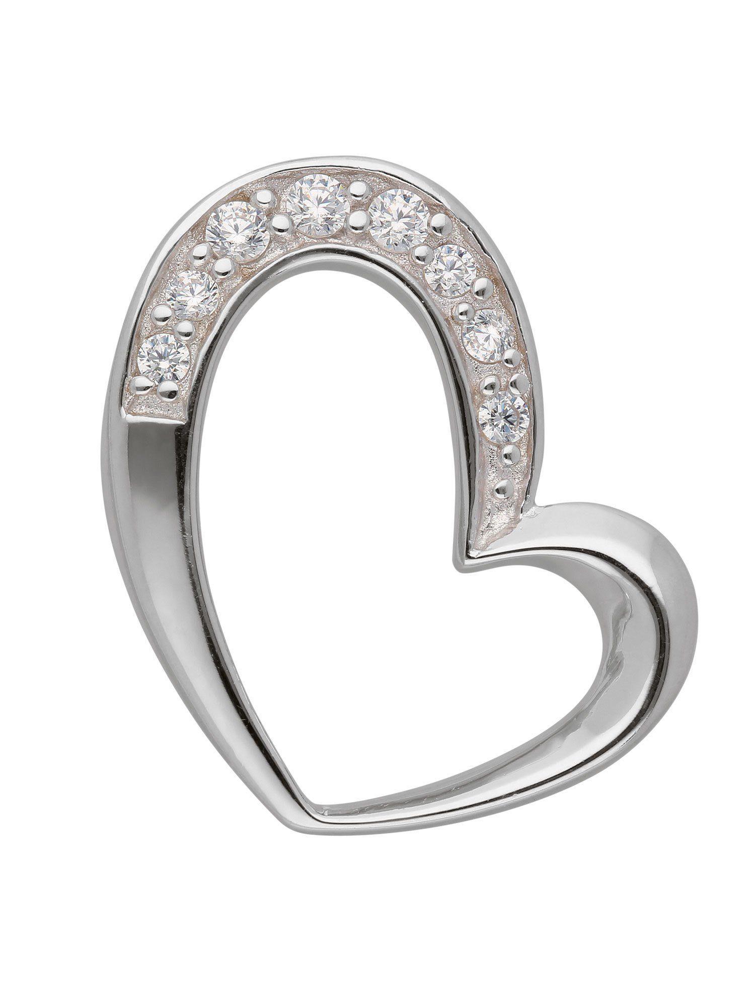 Adelia´s Kettenanhänger »Silber Anhänger« Herz 925 Sterling Silber mit Zirkonia