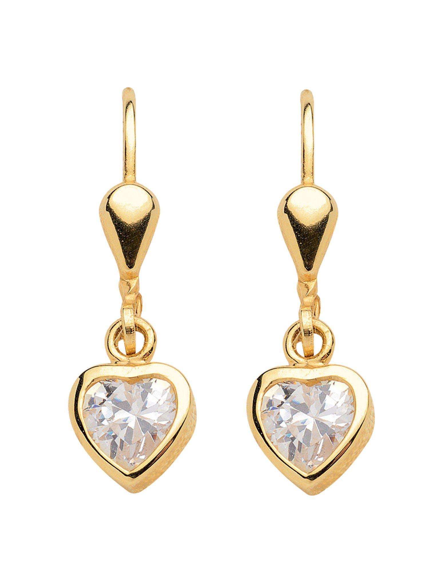 Adelia´s Paar Ohrhänger »Gold Ohrringe« Herz 8 k 333 Gelbgold mit Zirkonia