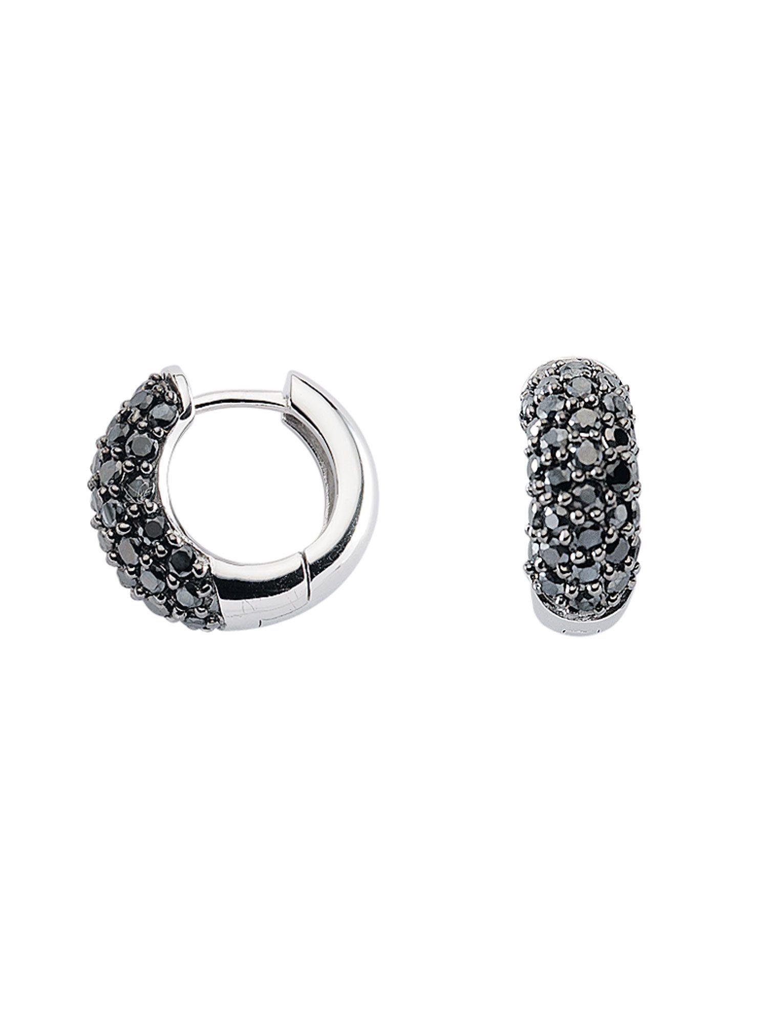 Adelia´s Paar Creolen »Silber Ohrringe« 925 Sterling Silber mit Zirkonia Ø 1.6 cm