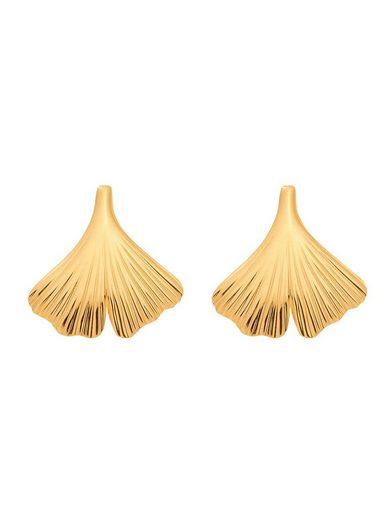 Adelia´s Paar Ohrstecker »375 Gold Ohrringe / Ohrstecker Ginkoblatt«, Goldschmuck für Damen