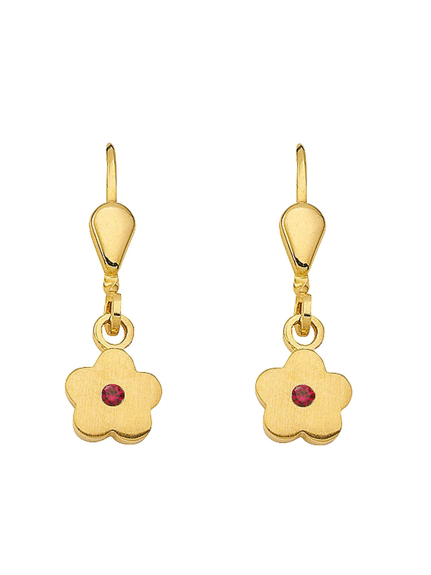 Adelia´s Paar Ohrhänger »Gold Ohrringe« Blüte 8 k 333 Gelbgold mit synthetischer Rubin