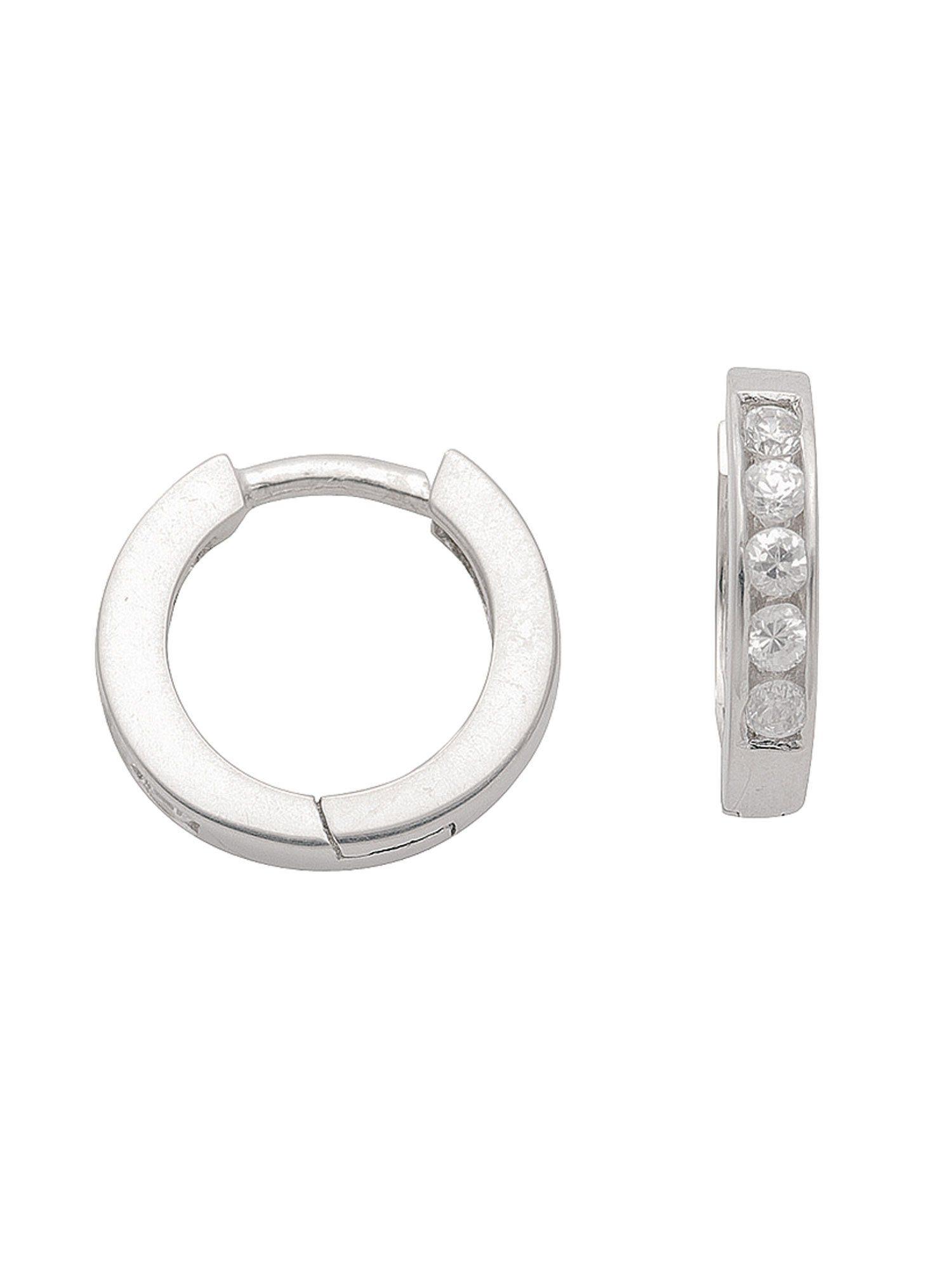 Adelia´s Paar Creolen »Silber Ohrringe« 925 Sterling Silber mit Zirkonia Ø 1.18 cm