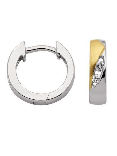 Adelia´s Paar Creolen »Silber 925 Sterling Silver Ohrringe - Creolen« 925 Sterling Silber mit Zirkonia Ø 1.34 cm