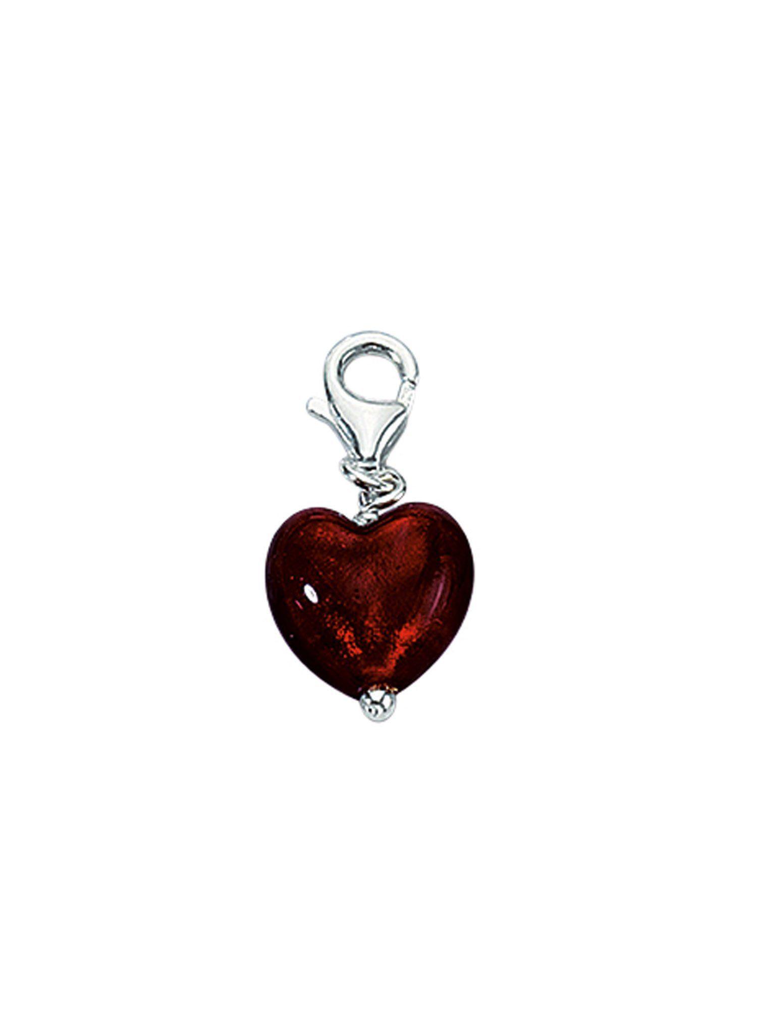 Adelia´s Charm-Einhänger »Silber Anhänger« Herz 925 Sterling Silber mit Glasstein