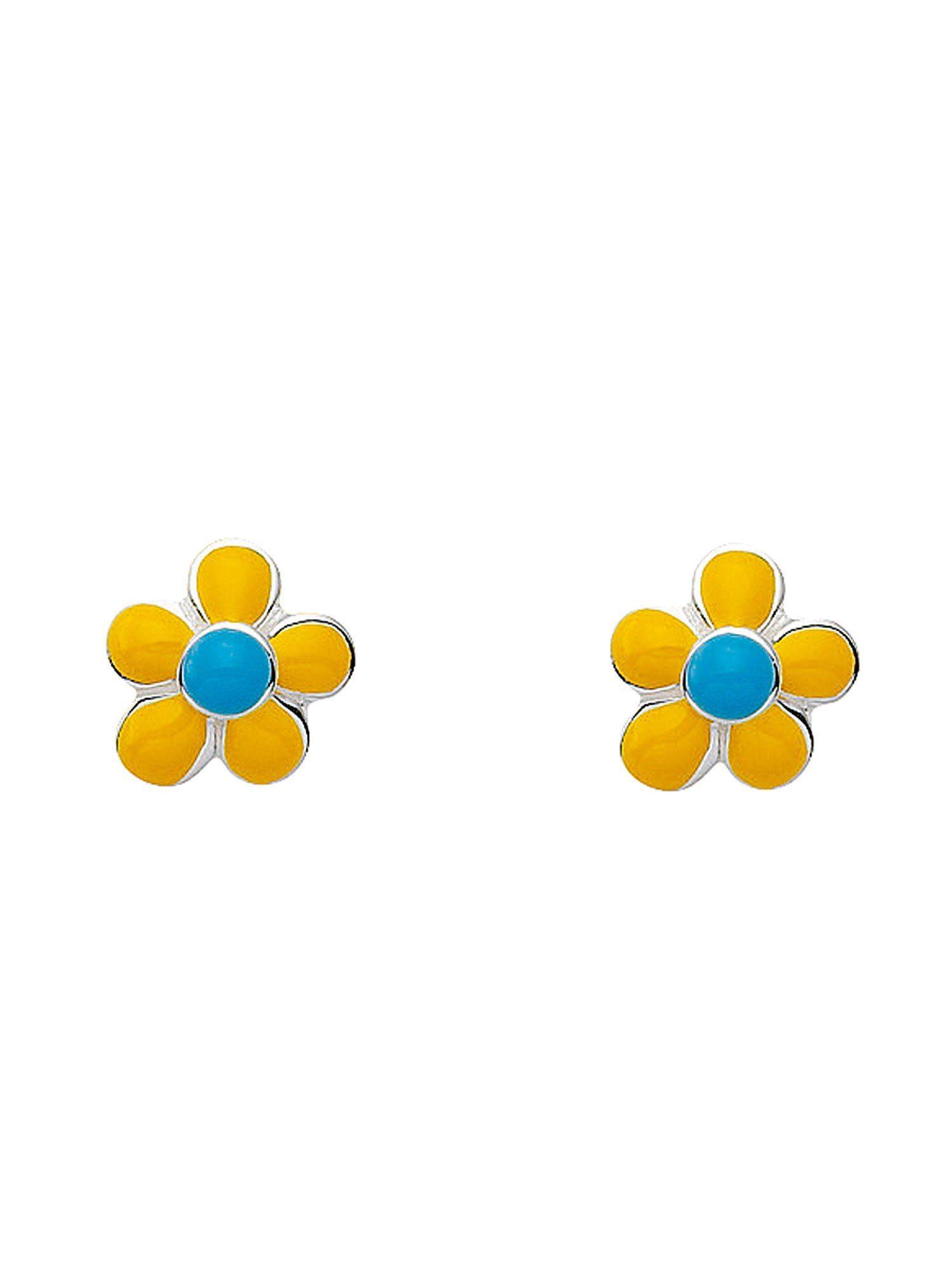 Adelia´s Paar Ohrstecker »Silber Ohrringe« Blüte - gelb 925 Sterling Silber