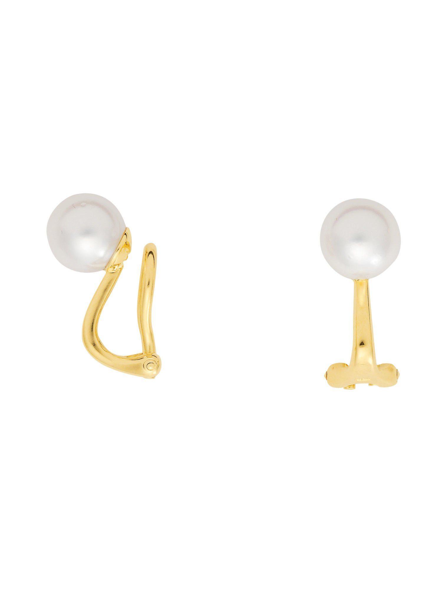 Adelia´s Paar Ohrclips »Gold Ohrringe« 14 k 585 Gelbgold mit Süßwasser Zuchtperle Ø 8 mm