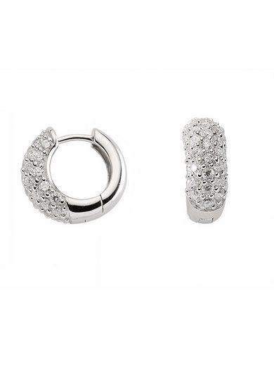 Adelia´s Paar Creolen »Silber 925 Sterling Silver Ohrringe - Creolen«, 925 Sterling Silber mit Zirkonia Ø 1.61 cm