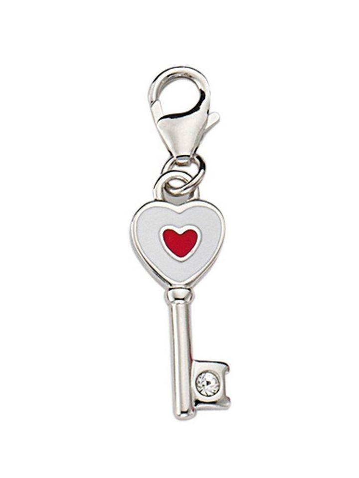Adelia´s Charm-Einhänger »Silber 925 Sterling Silver Charms - Anhänger« Schlüssel Silber mit Zirkonia