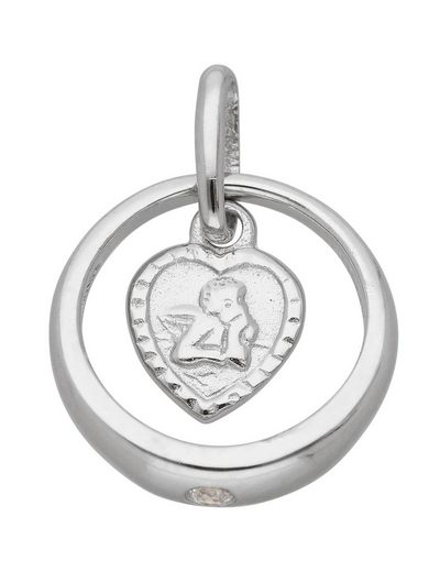 Adelia´s Kettenanhänger »Silber 925 Sterling Silver Motiv - Anhänger«, Taufring 925 Sterling Silber mit Zirkonia Ø 1.07 cm