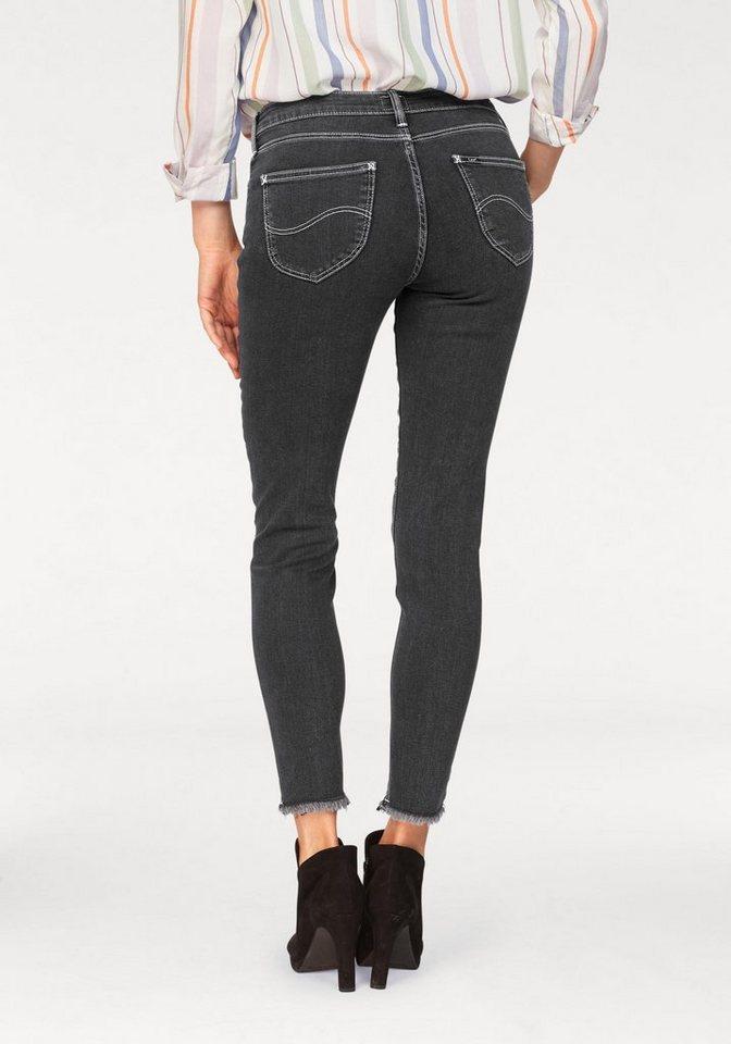 Lee® Destroyed-Jeans mit Fransen am Saum | Bekleidung > Jeans > Destroyed Jeans | Grau | Denim | Lee®