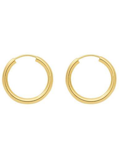 Adelia´s Paar Creolen »Silber 925 Sterling Silver Ohrringe - Creolen«, 925 Sterling Silber vergoldet Ø 5 cm