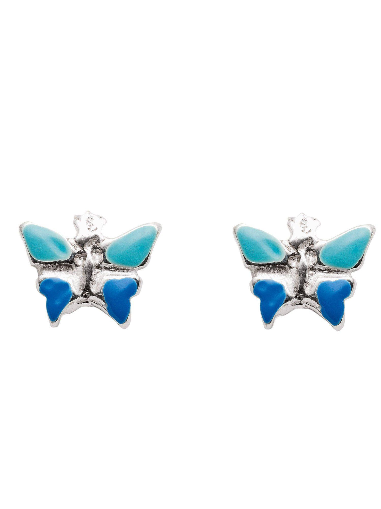 Adelia´s Paar Ohrstecker »Silber Ohrringe« Schmetterling blau grün 925 Sterling Silber