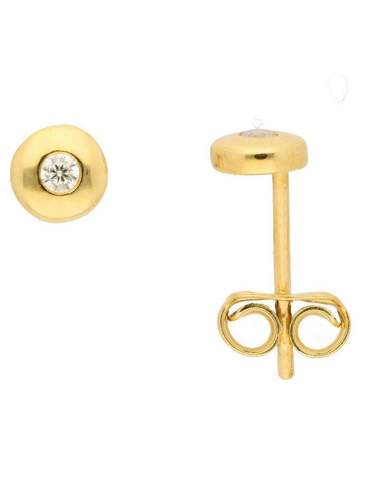 Adelia´s Paar Ohrstecker »Gold 14 k (585) Ohrringe - Ohrstecker« 14 k 585 Gelbgold mit Zirkonia Ø 5 mm | Schmuck > Ohrschmuck & Ohrringe > Ohrstecker | Goldfarben | Adelia´s