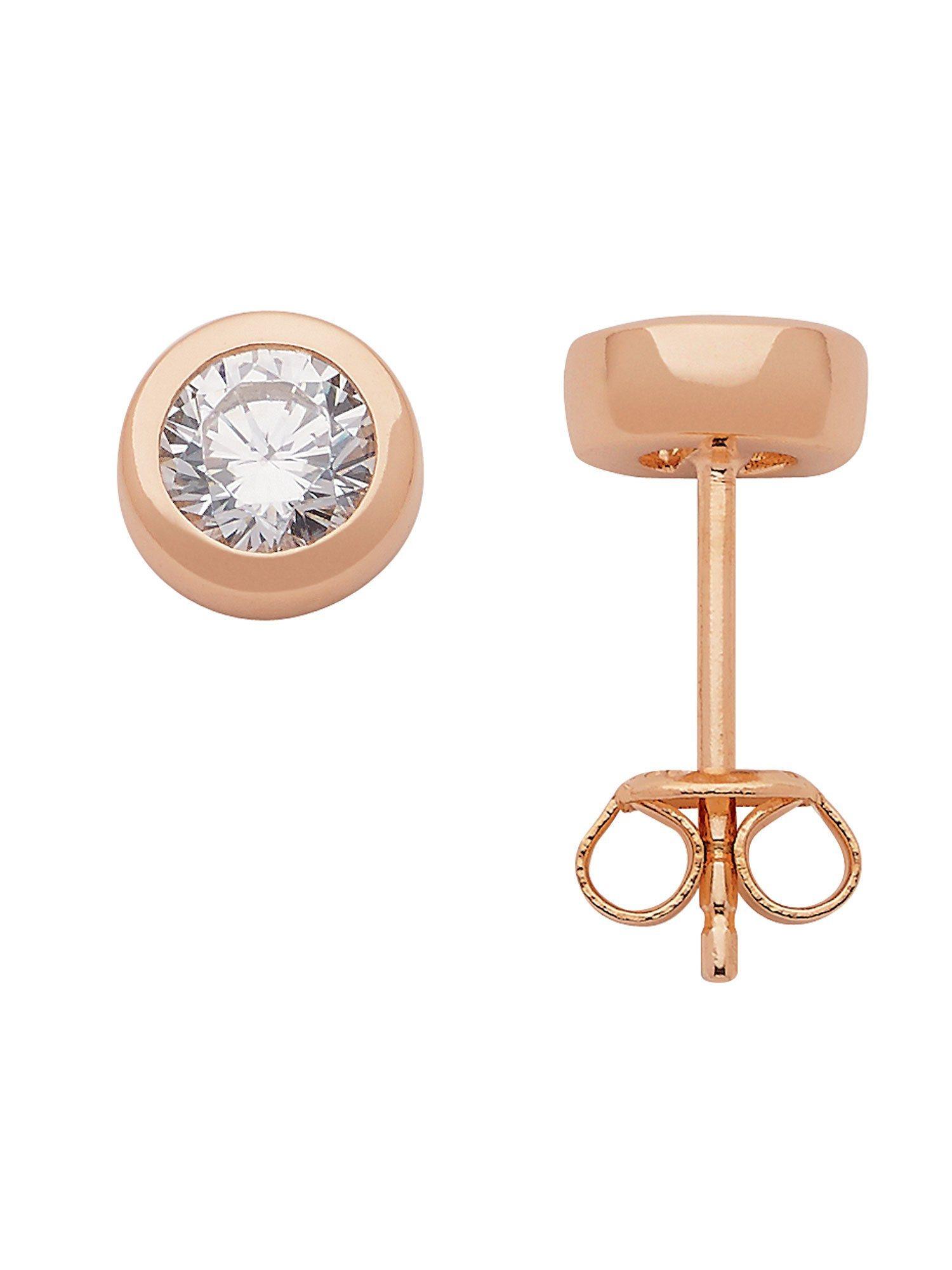 Adelia´s Paar Ohrstecker »Silber Ohrringe« 925 Sterling Silber rose mit Zirkonia Ø 7 mm | Schmuck > Ohrschmuck & Ohrringe > Ohrstecker | Silber - Rose | Adelia´s