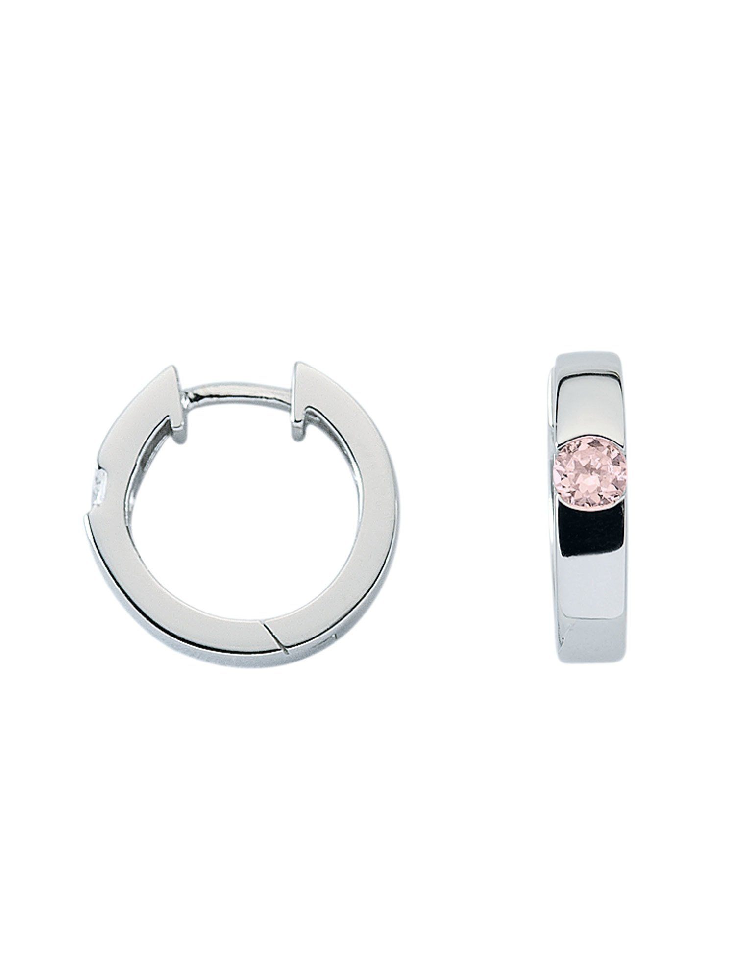Adelia´s Paar Creolen »Silber Ohrringe« 925 Sterling Silber mit Zirkonia Ø 1.57 cm