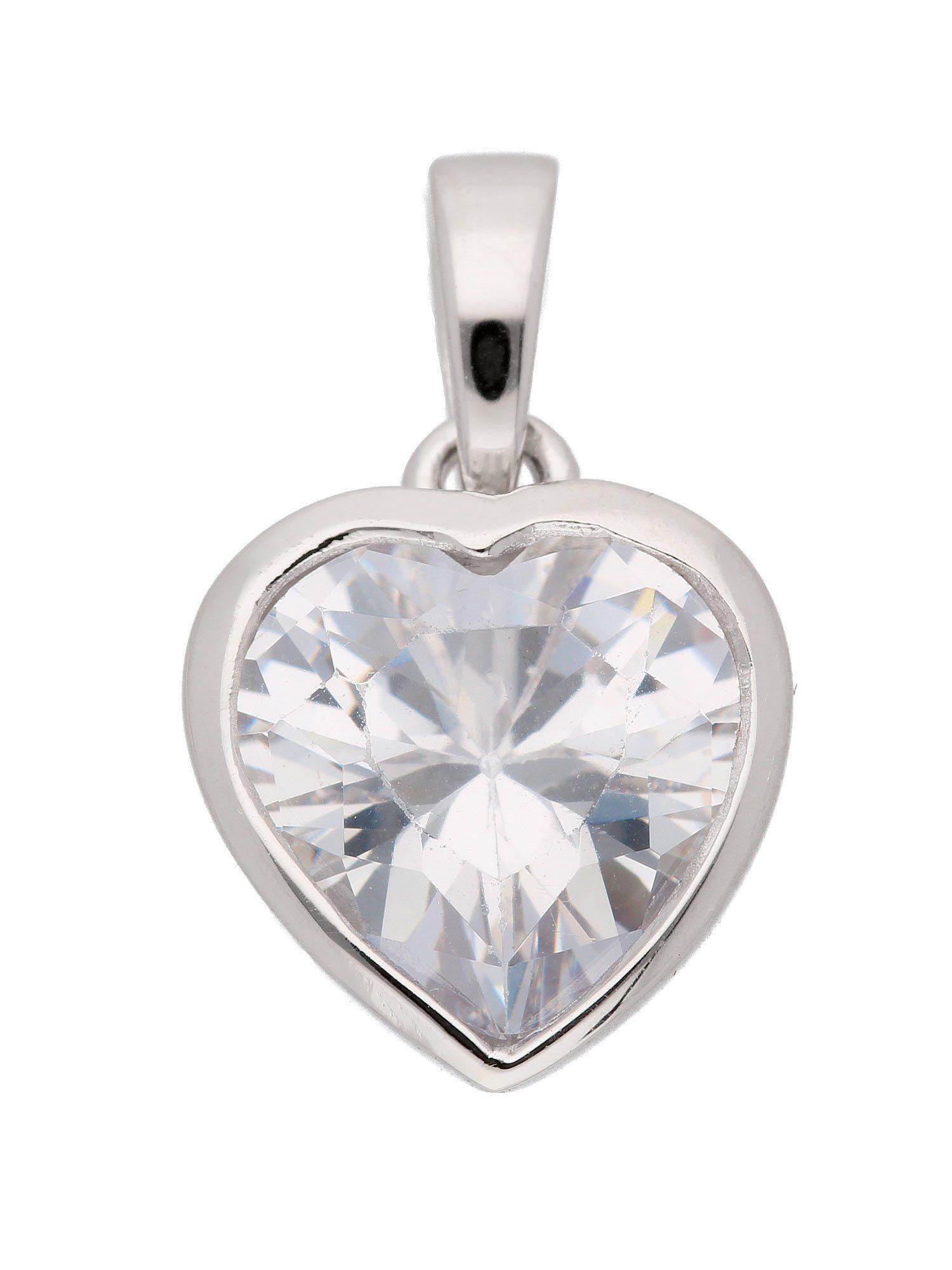 Adelia´s Kettenanhänger »Silber Anhänger«, Herz 925 Sterling Silber mit Zirkonia | Schmuck > Halsketten > Ketten ohne Anhänger | Silber | Adelia´s