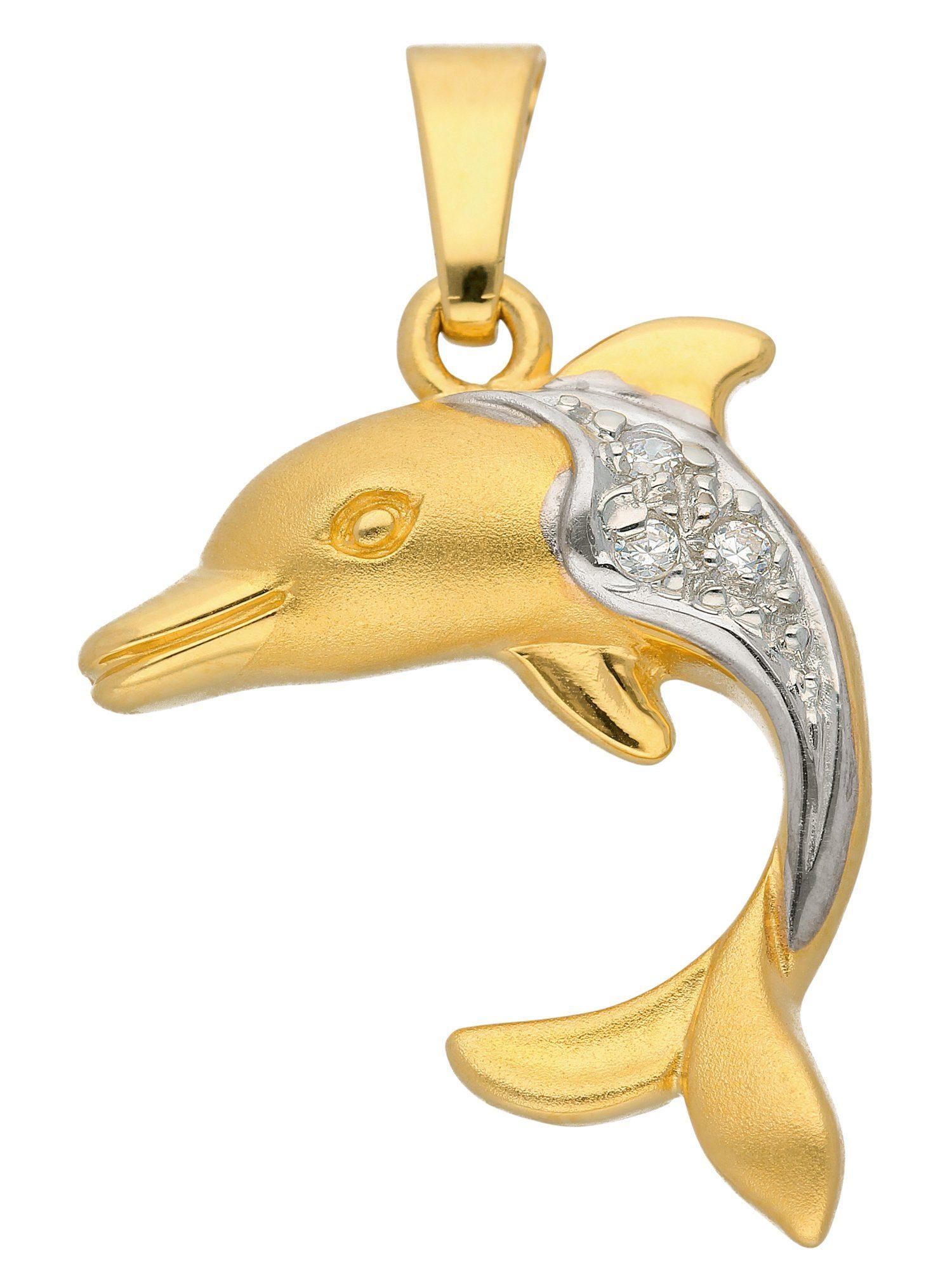 Adelia´s Kettenanhänger »Gold Anhänger« Delphin 8 k 333 Gelbgold mit Zirkonia
