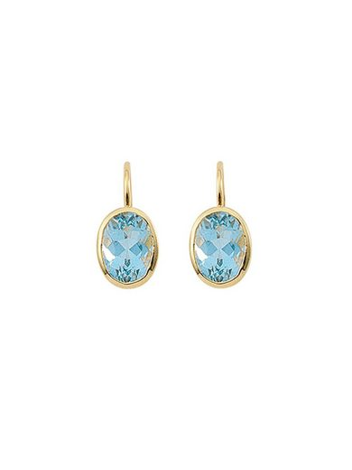 Adelia´s Paar Ohrhänger »Gold 14 k (585) Aquamarin Boutons« 14 k 585 Gelbgold mit Aquamarin