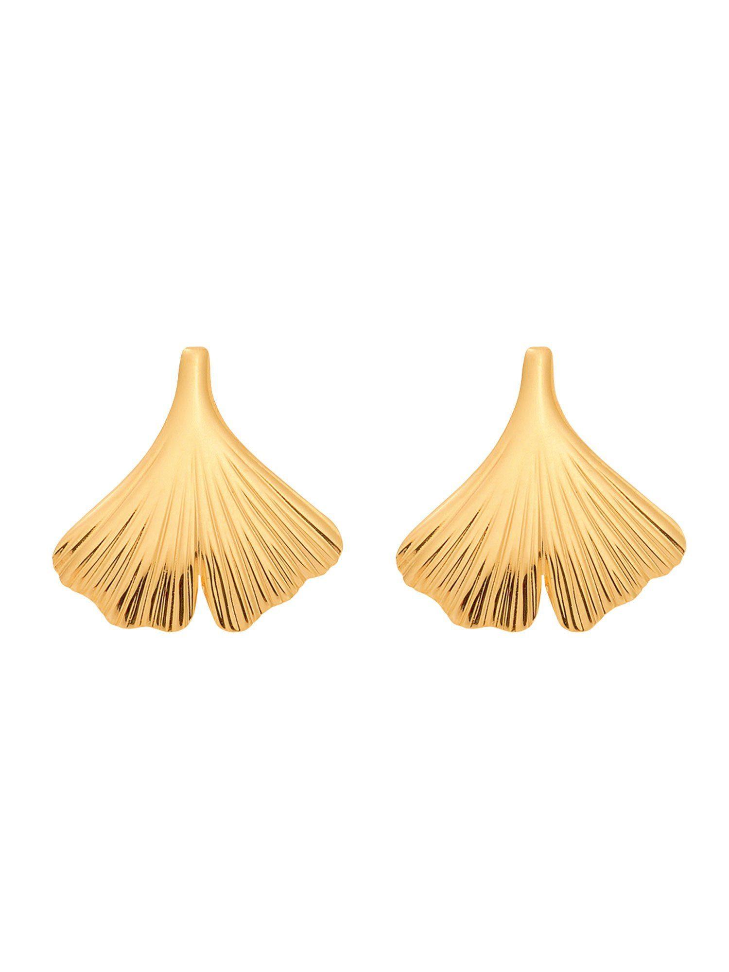 Adelia´s Paar Ohrstecker »Gold Ohrringe« Ginkoblatt 14 k 585 Gelbgold
