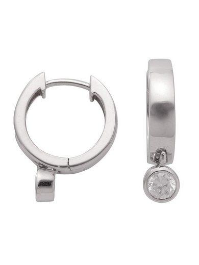 Adelia´s Paar Creolen »Silber 925 Sterling Silver Ohrringe - Creolen«, 925 Sterling Silber mit Zirkonia Ø 1.46 cm