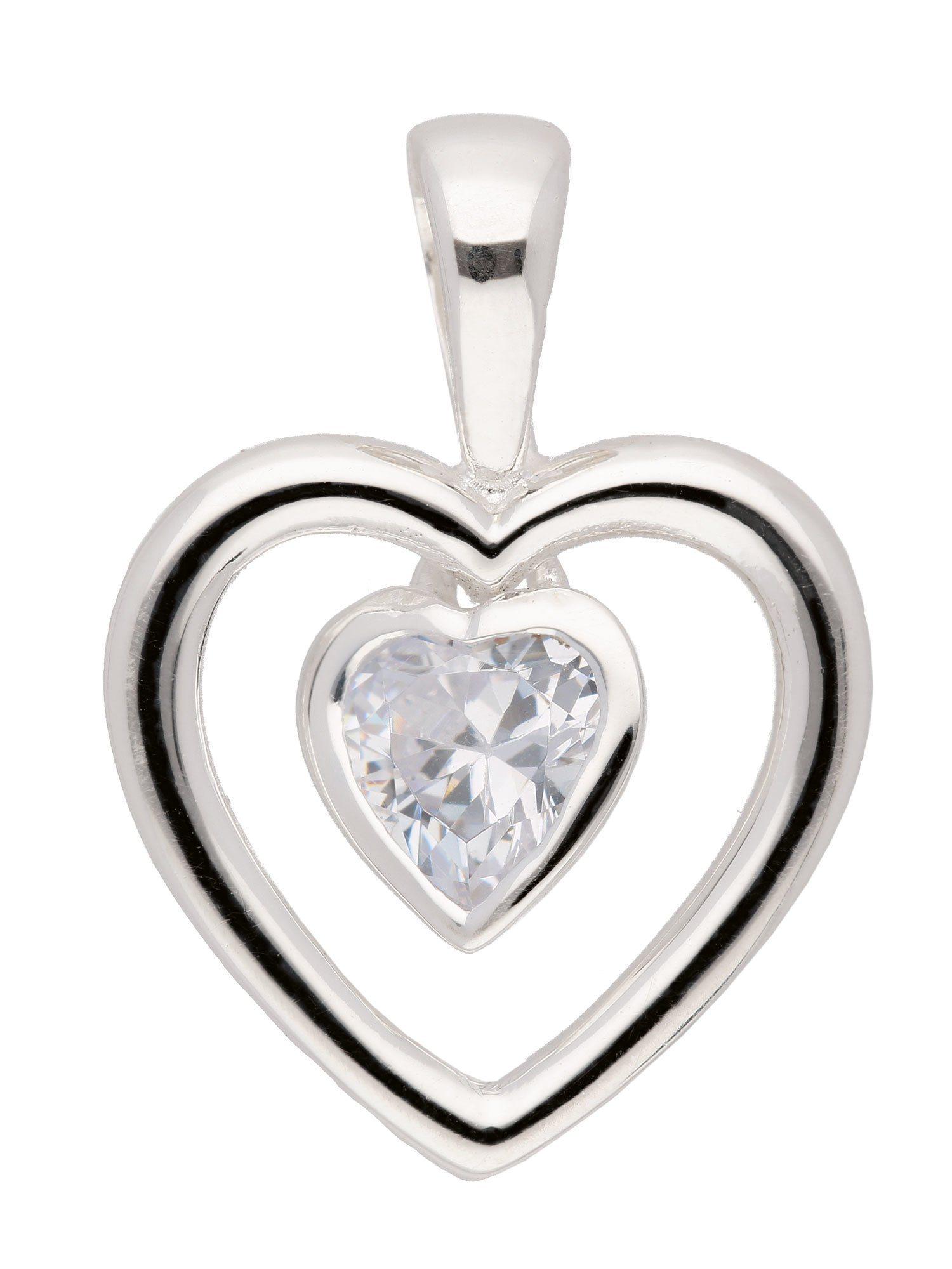 Adelia´s Kettenanhänger »Silber Anhänger« Herz 925 Sterling Silber mit Zirkonia | Schmuck > Halsketten > Ketten ohne Anhänger | Adelia´s