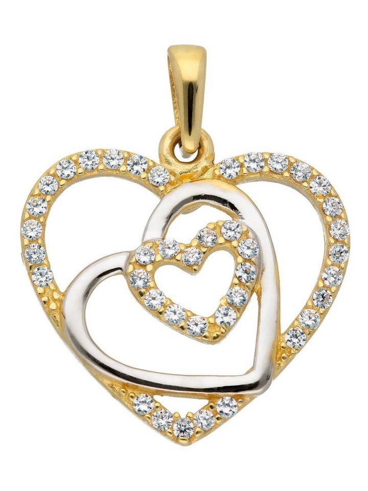 Adelia´s Kettenanhänger »Gold 8 k (333) Motiv - Anhänger« Herz 8 k 333 Gelbgold mit Zirkonia | Schmuck > Halsketten > Ketten ohne Anhänger | Goldfarben | Adelia´s