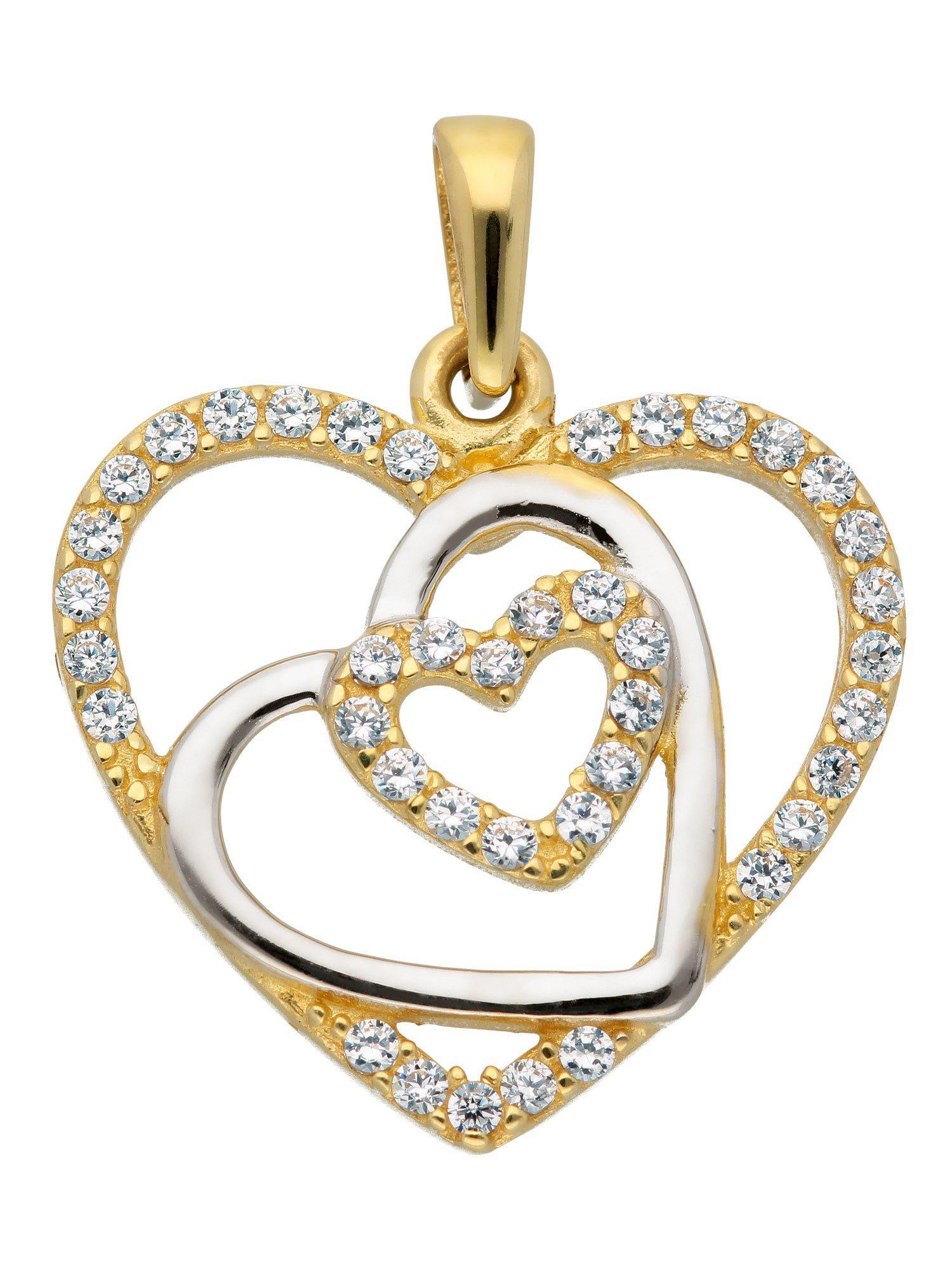 Adelia´s Kettenanhänger »Gold Anhänger« Herz 8 k 333 Gelbgold mit Zirkonia