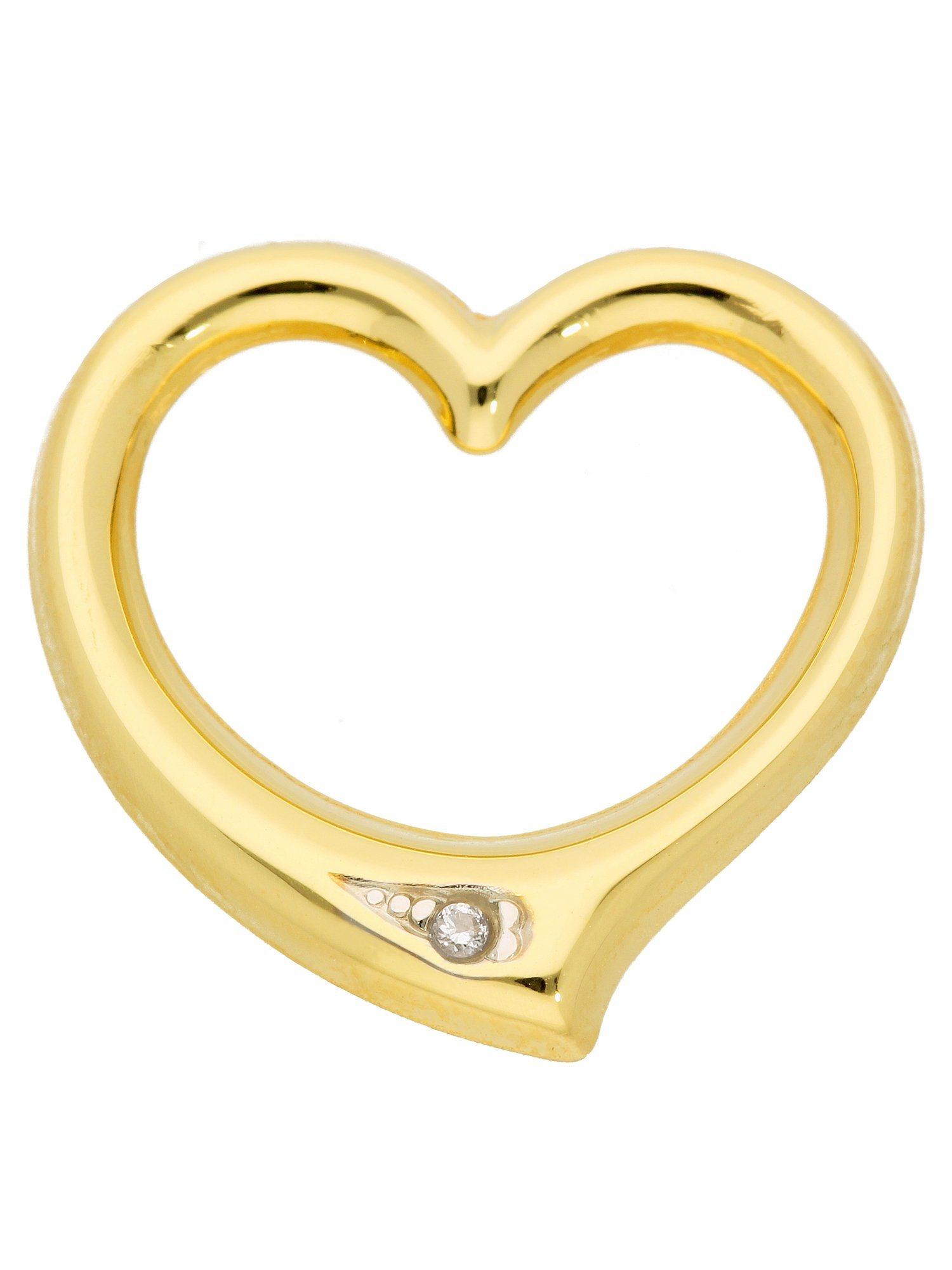 Adelia´s Kettenanhänger »Gold Anhänger« Swingheart 14 k 585 Gelbgold mit Diamant | Schmuck > Halsketten > Ketten ohne Anhänger | Goldfarben | Adelia´s
