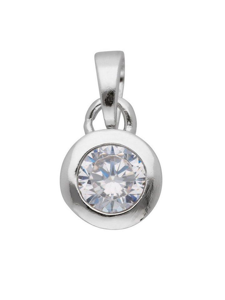 Adelia´s Kettenanhänger »Silber Anhänger« 925 Sterling Silber mit Zirkonia Ø 7 mm   Schmuck > Halsketten > Kettenanhänger   Adelia´s