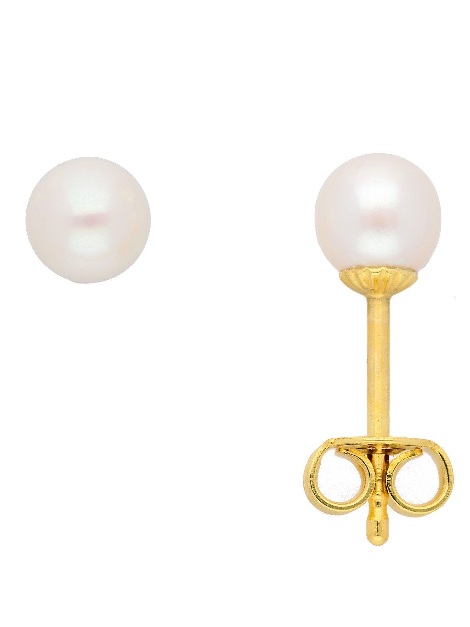 Adelia´s Paar Ohrstecker »Gold Ohrringe« 14 k 585 Gelbgold mit Süßwasser Zuchtperle Ø 5 mm