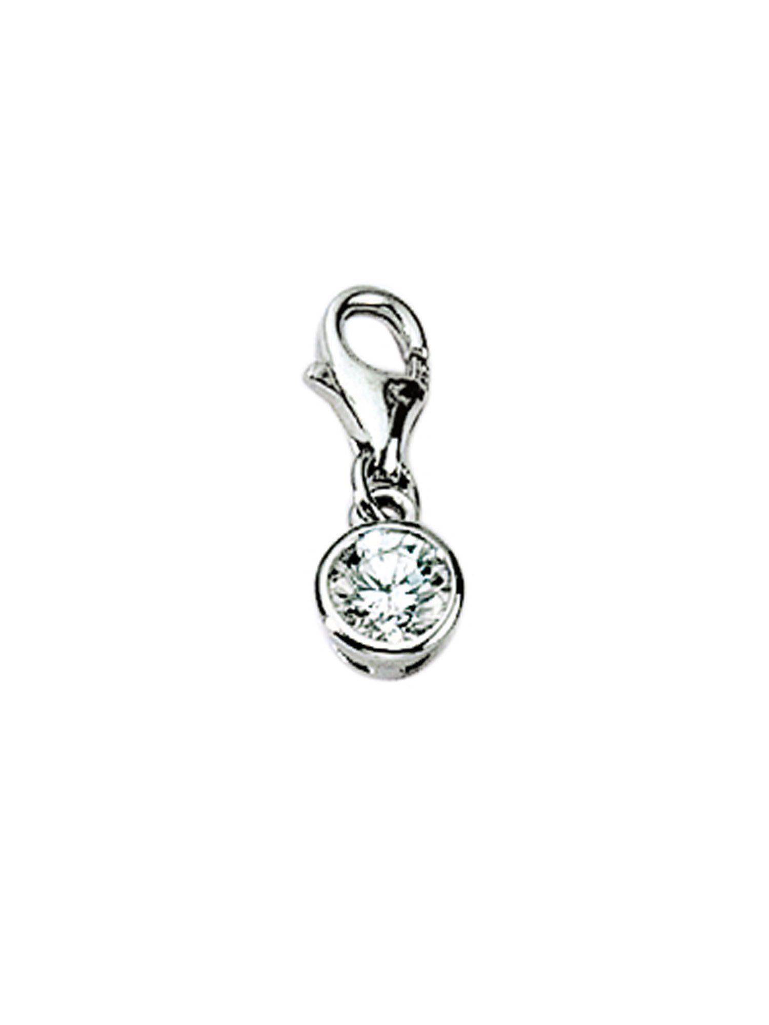 Adelia´s Charm-Einhänger »Silber Anhänger« Zarge 925 Sterling Silber mit Zirkonia