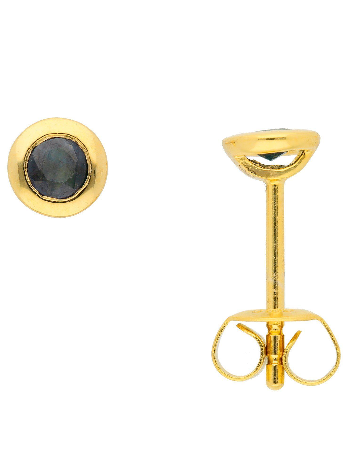Adelia´s Paar Ohrstecker »Gold Ohrringe« 14 k 585 Gelbgold mit Safir