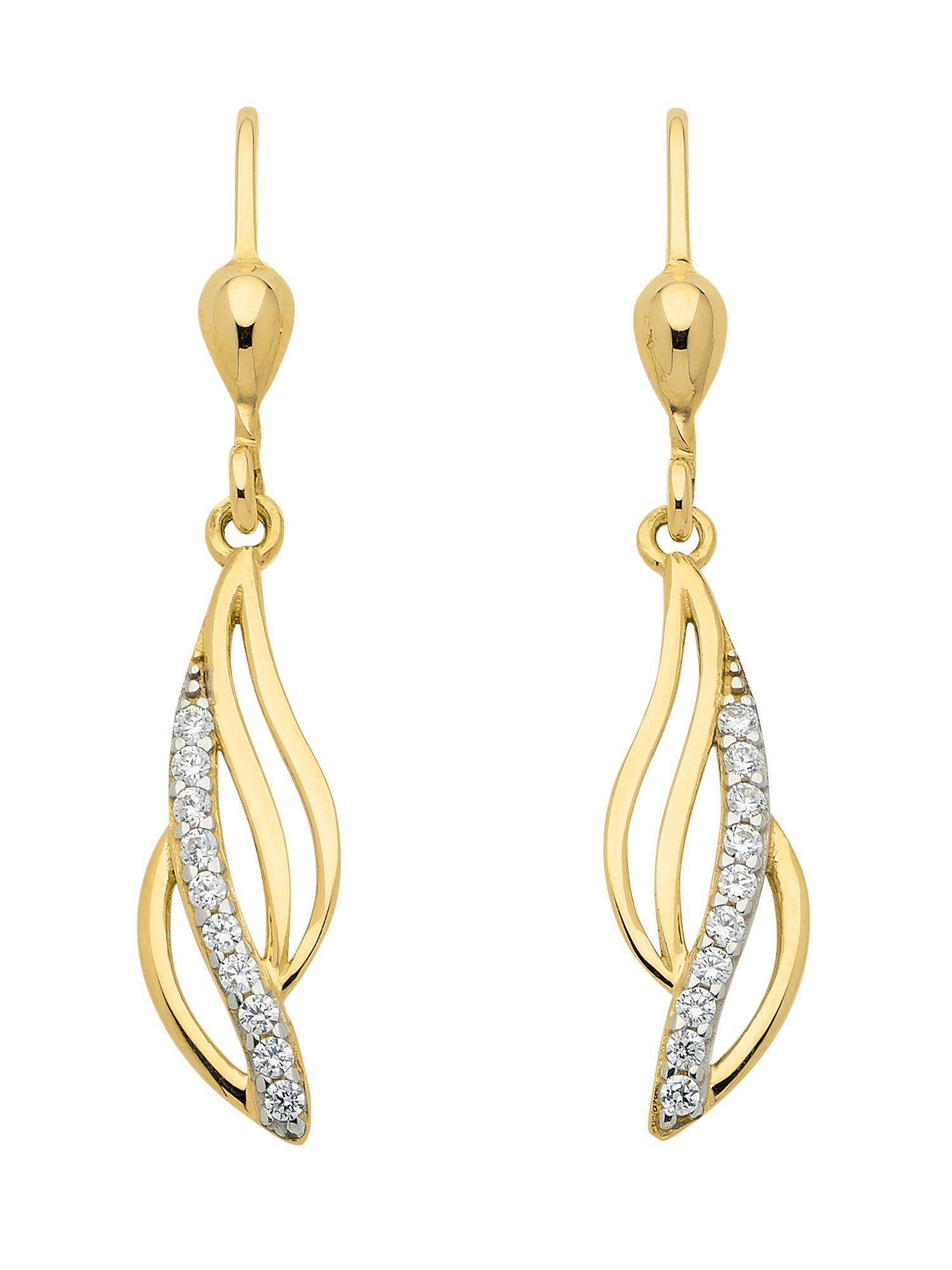 Adelia´s Paar Ohrhänger »Gold Ohrringe« 8 k 333 Gelbgold mit Zirkonia