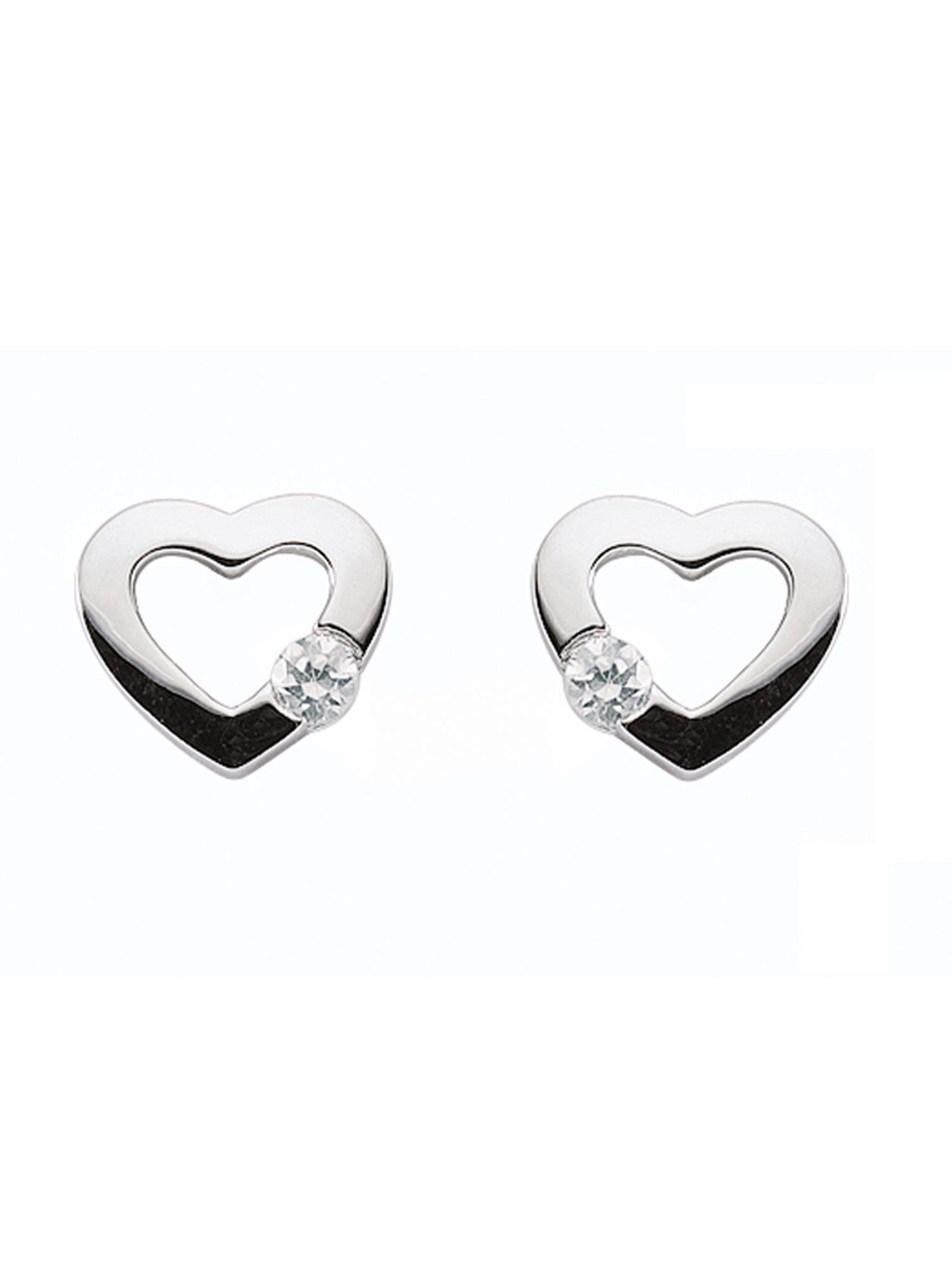 925 Sterling Silber /& Ohrringe Ohrstecker Herz Herz