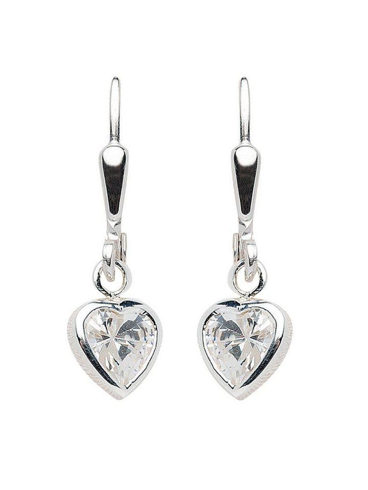 cacf422f355d Adelia´s Paar Ohrhänger »Silber Ohrringe« Herz 925 Sterling Silber mit  Zirkonia