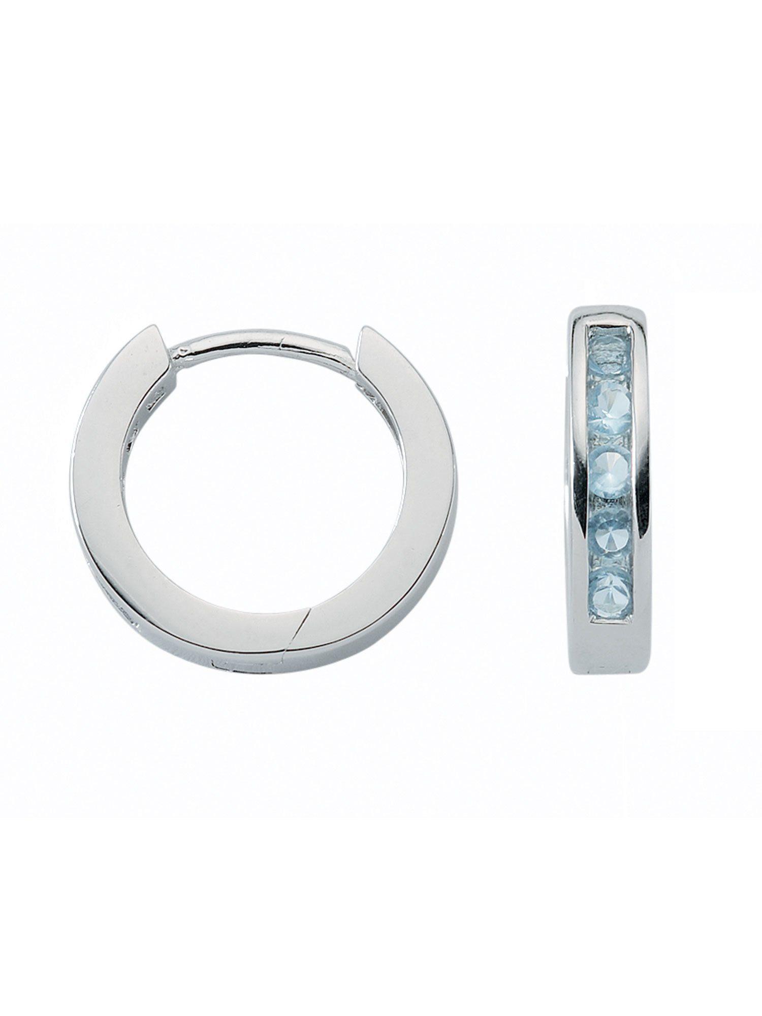 Adelia´s Paar Creolen »Silber Ohrringe« 925 Sterling Silber mit Zirkonia Ø 1.5 cm