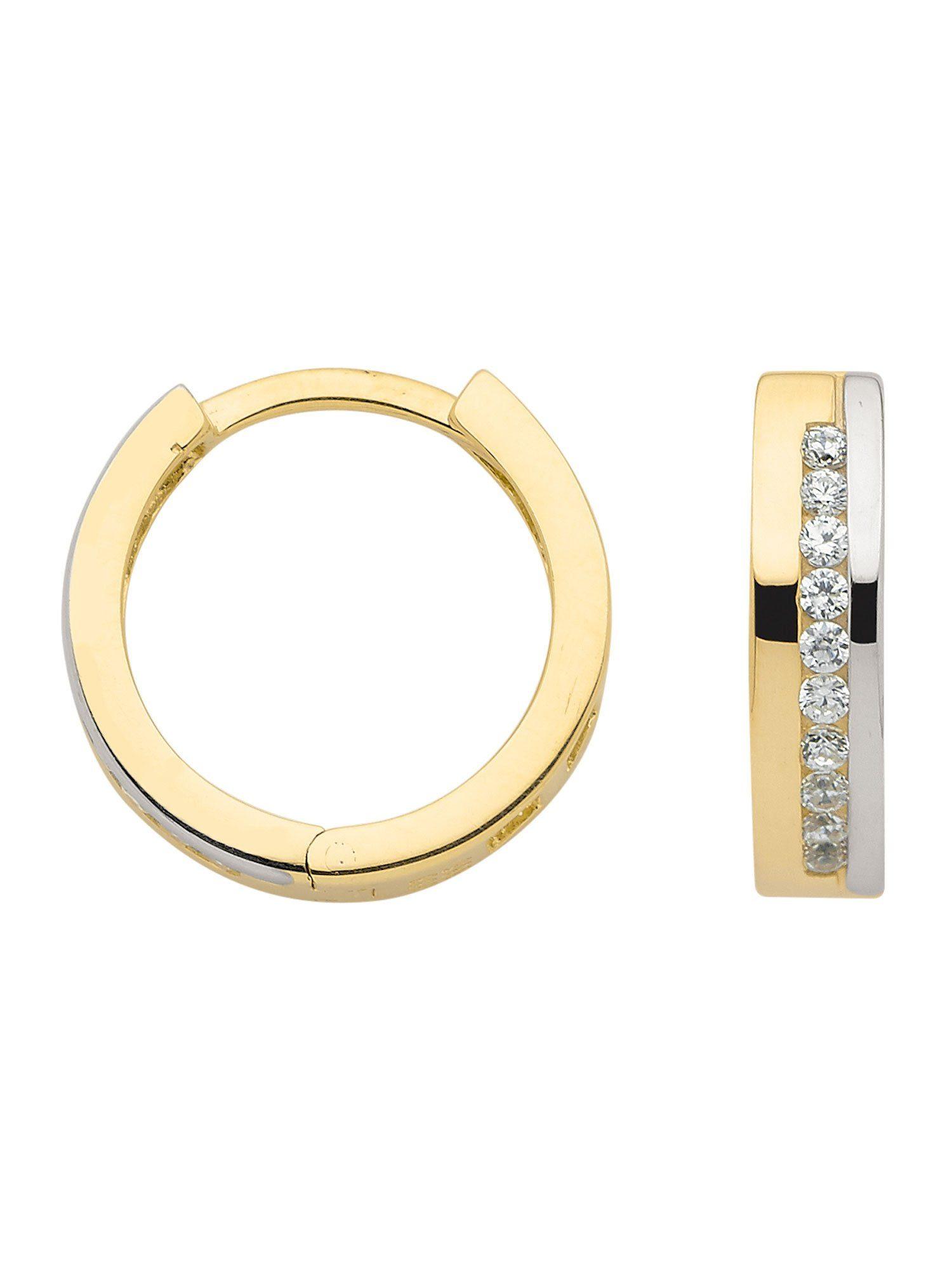 Adelia´s Paar Creolen »Gold Ohrringe« 8 k 333 Gelbgold mit Zirkonia