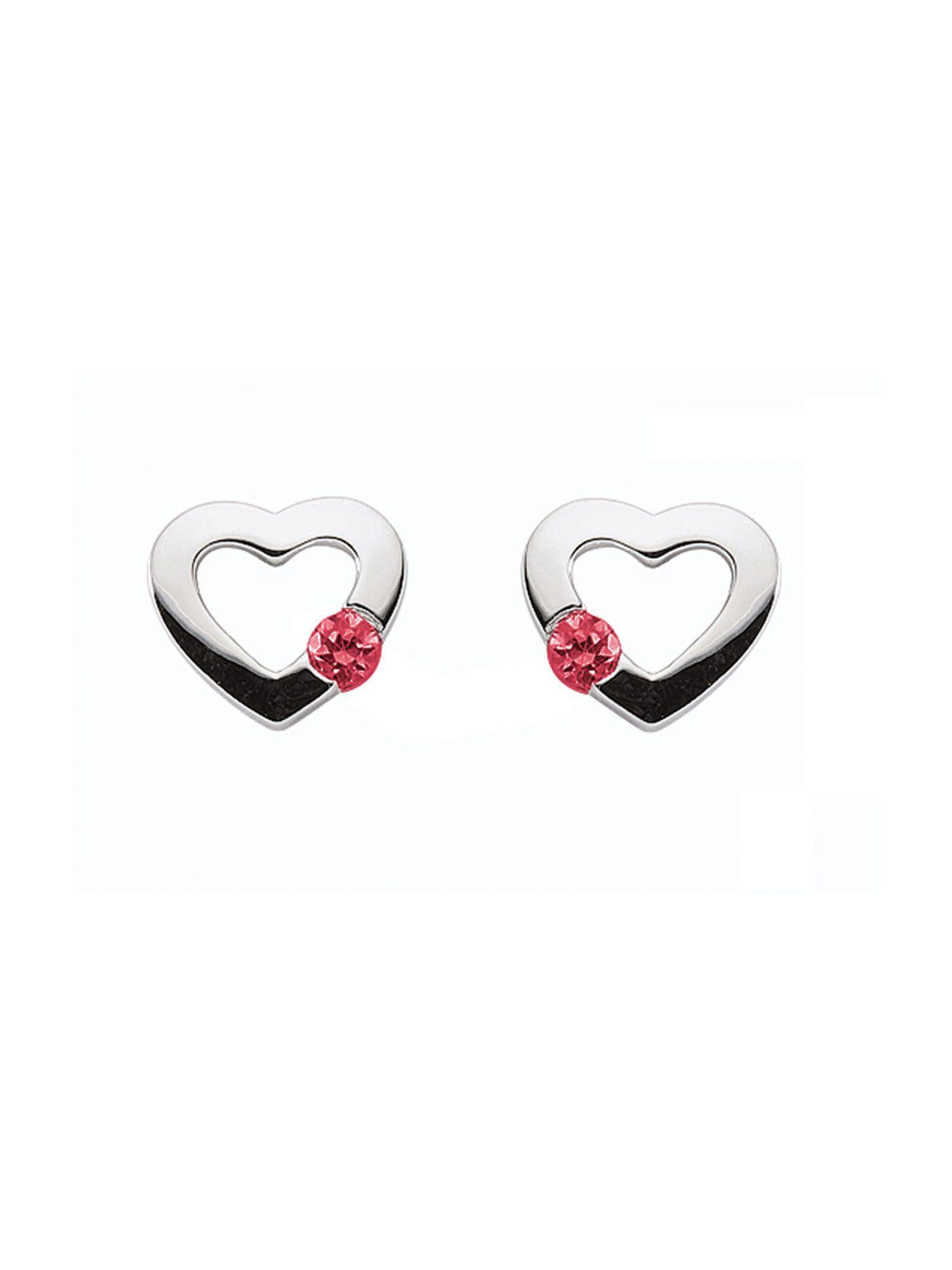 Adelia´s Paar Ohrstecker »Silber Ohrringe« Herz 925 Sterling Silber mit Zirkonia Ø 7.3 mm