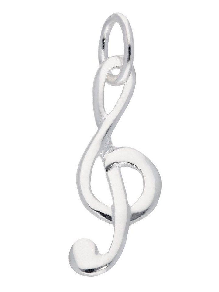 Adelia´s Kettenanhänger »Silber 925 Sterling Silver Motiv - Anhänger« Notenschlüssel Silber