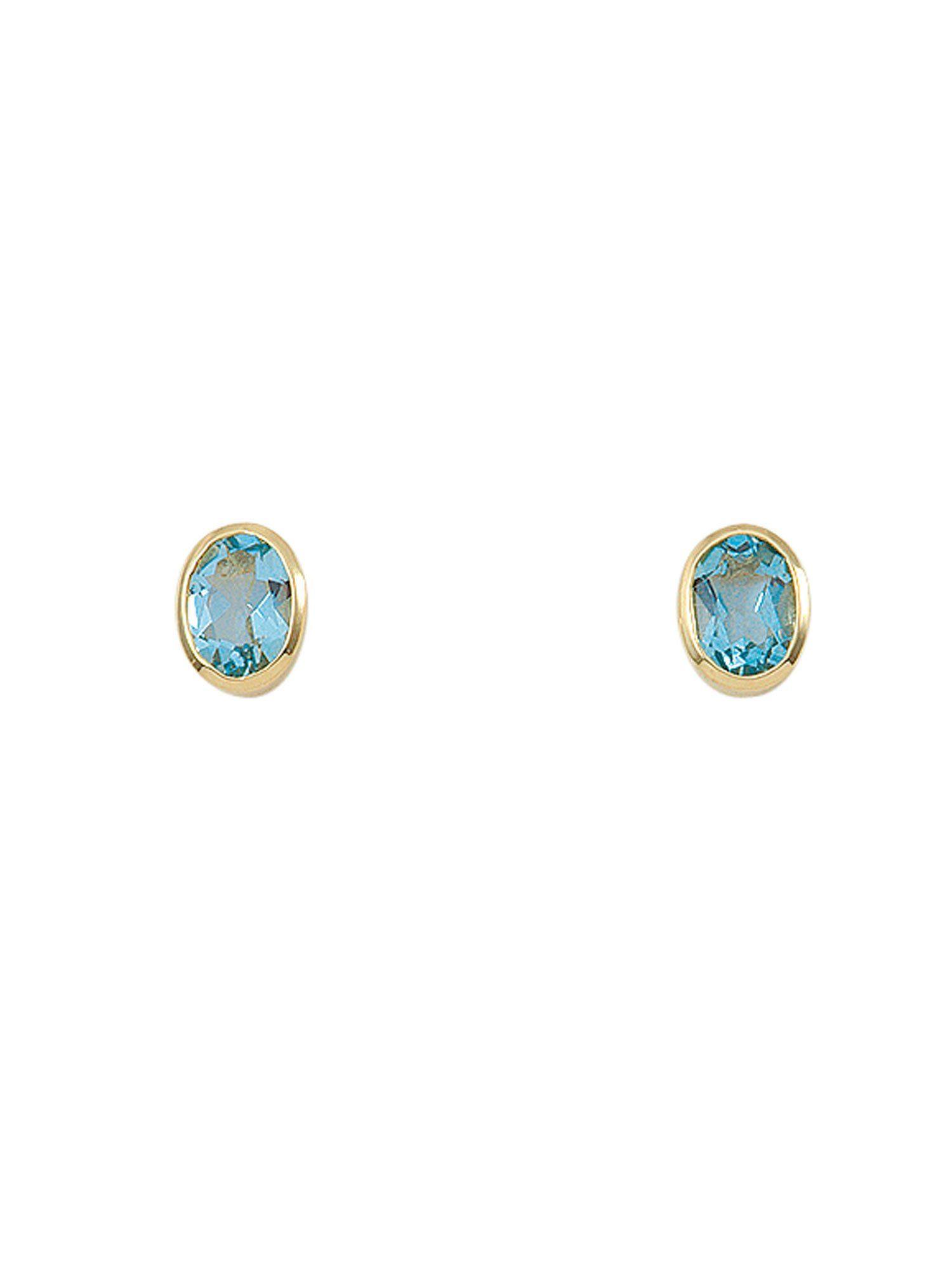 Adelia´s Paar Ohrstecker »Gold Ohrringe« 14 k 585 Gelbgold mit Aquamarin