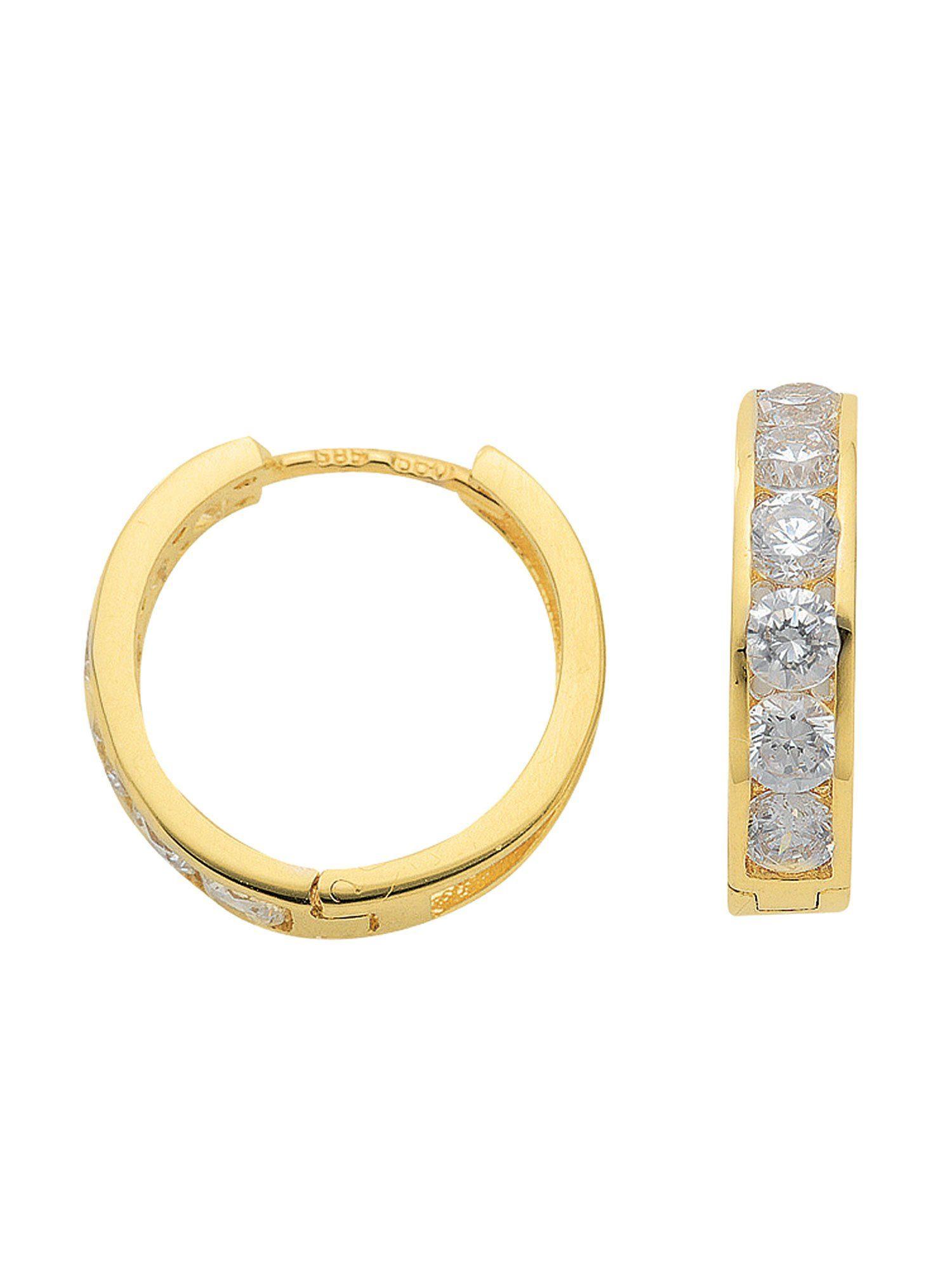Adelia´s Paar Creolen »Gold Ohrringe« 8 k 333 Gelbgold mit Zirkonia Ø 1.57 cm