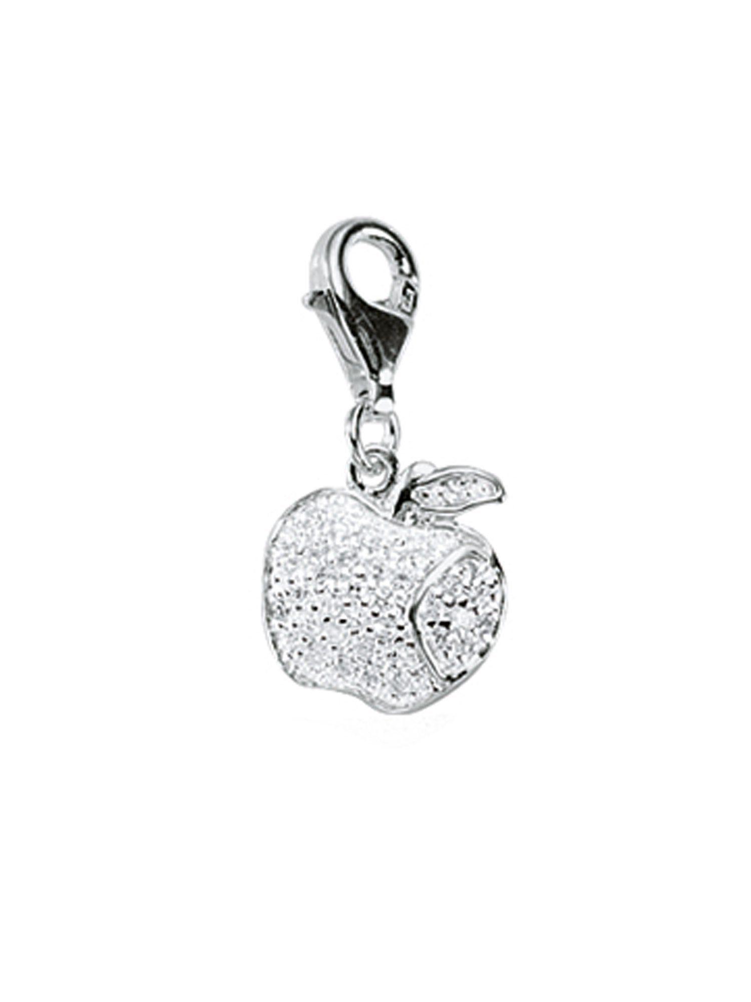 Adelia´s Charm-Einhänger »Silber Anhänger« Apfel 925 Sterling Silber mit Zirkonia