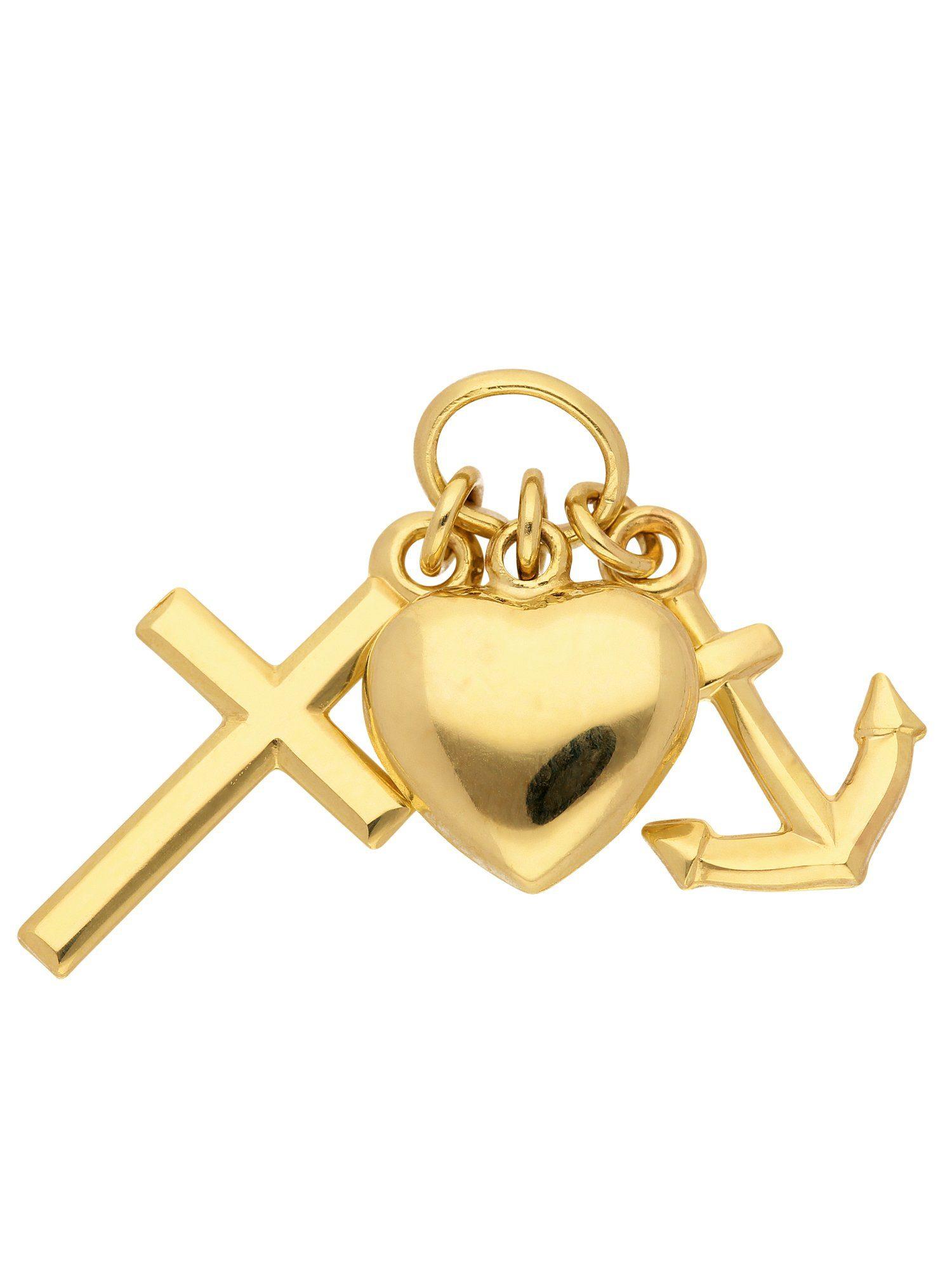 Adelia´s Kettenanhänger »Gold Anhänger« Glaube-Liebe-Hoffnung 14 k 585 Gelbgold