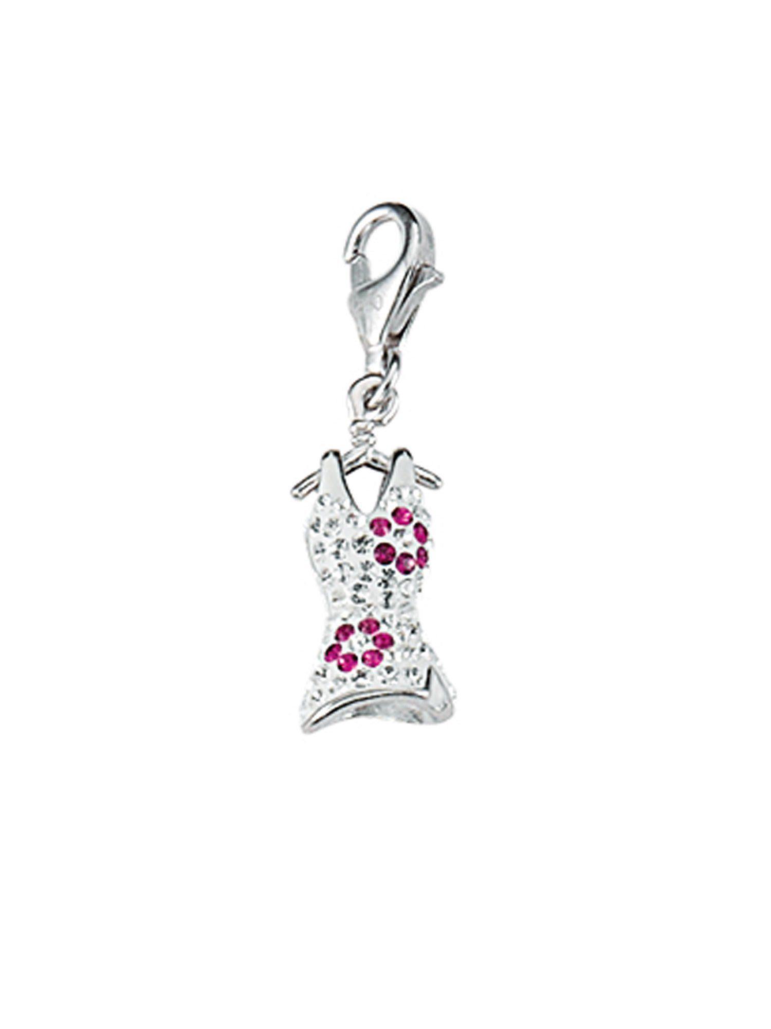 Adelia´s Charm-Einhänger »Silber Anhänger« Kleid 925 Sterling Silber mit Glasstein