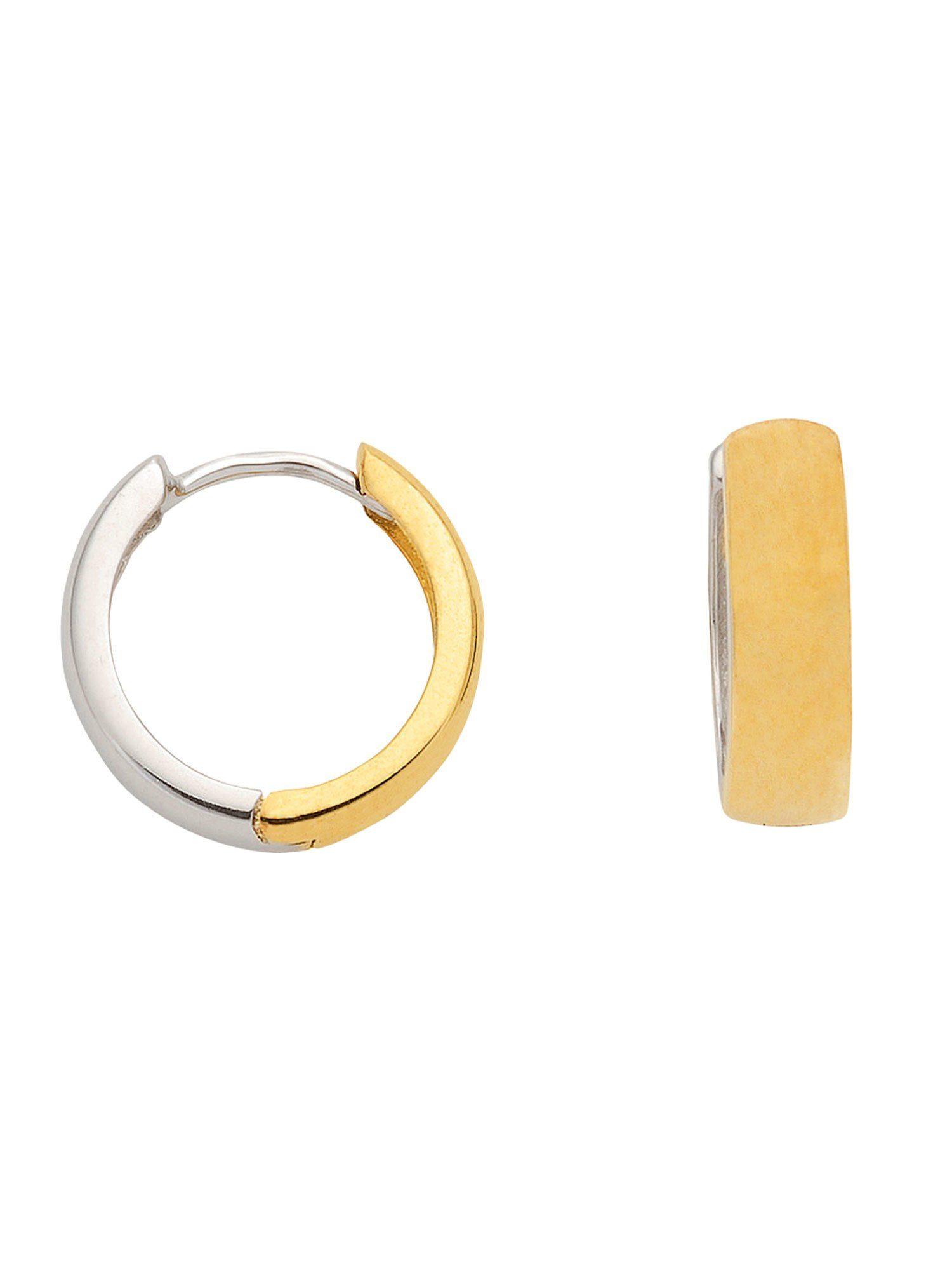 Adelia´s Paar Creolen »Gold Ohrringe« 14 k 585 Weißgold Ø 1.38 cm