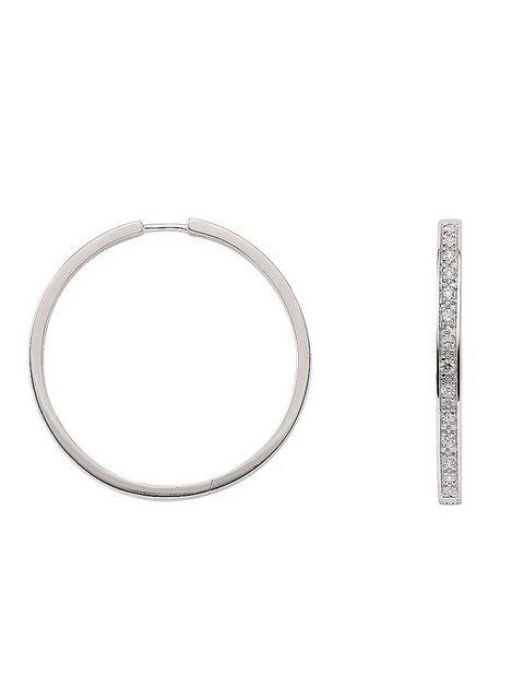 Adelia´s Paar Creolen »Silber Ohrringe« 925 Sterling Silber mit Zirkonia Ø 2.97 cm   Schmuck > Ohrschmuck & Ohrringe > Creolen   Adelia´s
